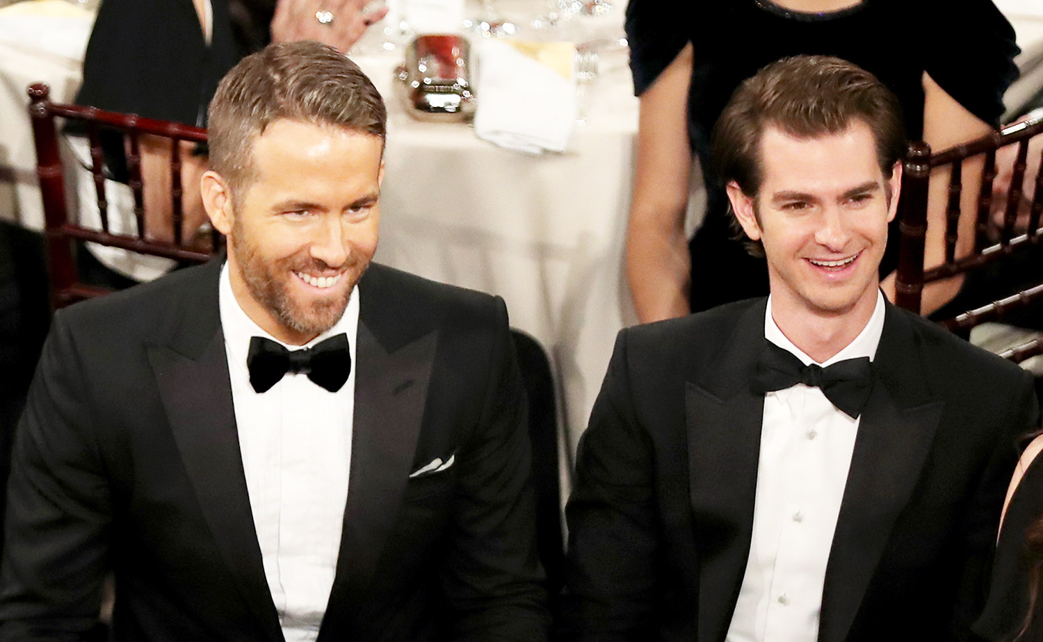 Ryan Reynolds and Andrew Garfield at the 74th Annual Golden Globe Awards held at the Beverly Hilton Hotel on Jan. 8, 2017.