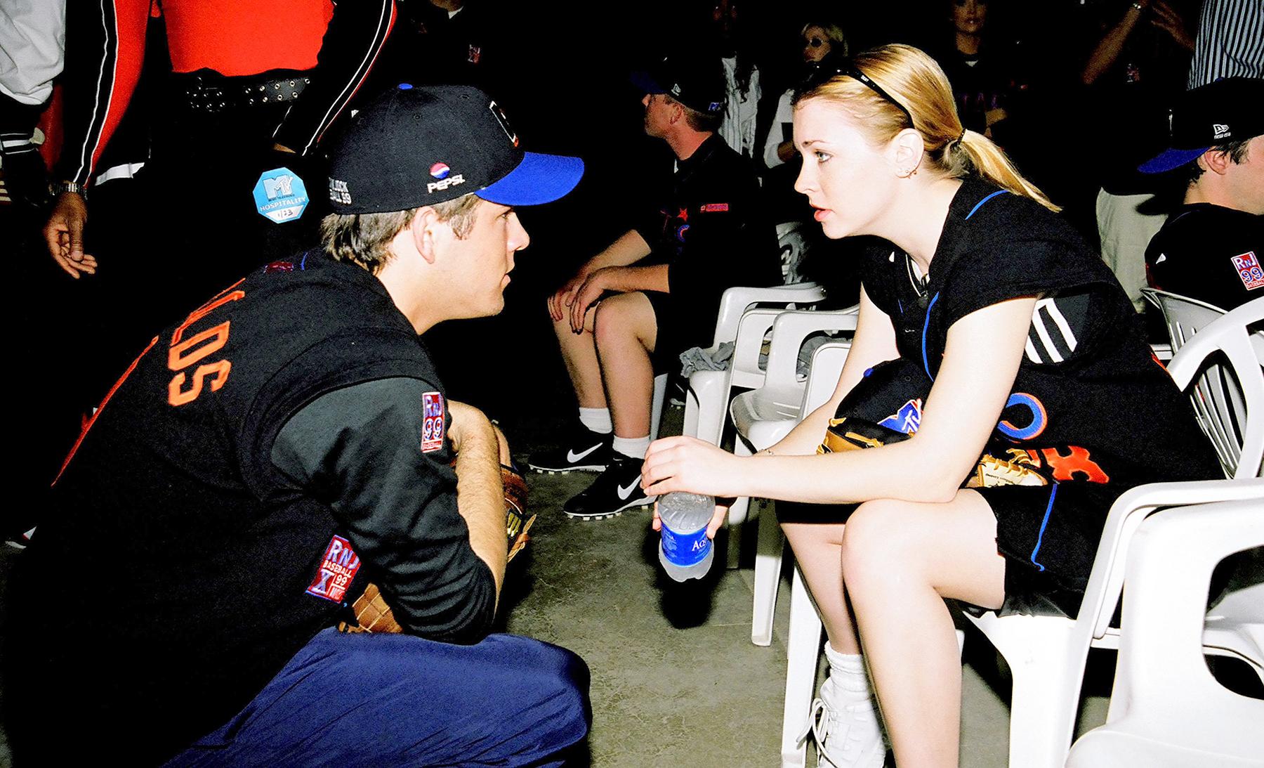 Ryan Reynolds and Melissa Joan Hart during MTV's 10th Annual Rock 'n Jock Baseball Game in Los Angeles, California, in 1999.