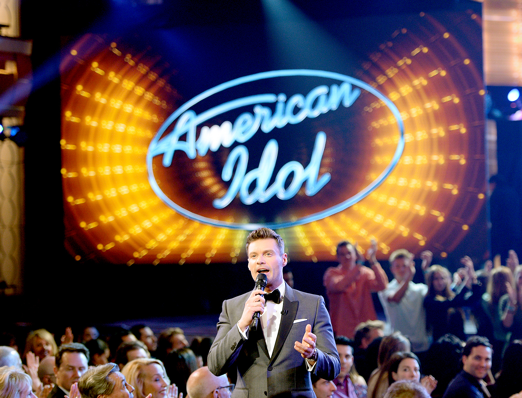 "Ryan Seacrest speaks in the audience during FOX's ""American Idol"" Finale For The Farewell Season at Dolby Theatre on April 7, 2016 in Hollywood, California. at Dolby Theatre on April 7, 2016 in Hollywood, California."