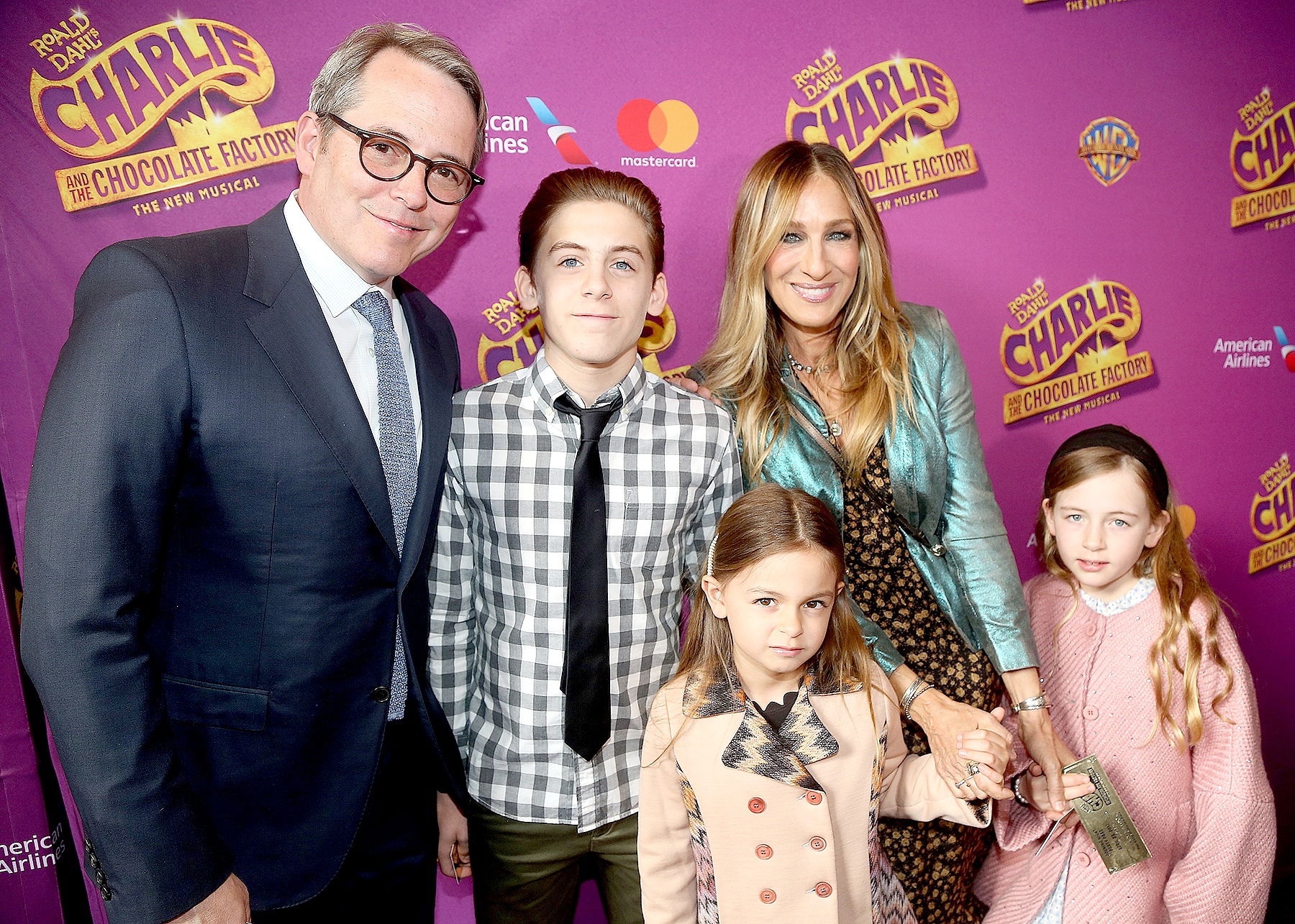 "Matthew Broderick, James Wilkie Broderick, Tabitha Hodge Broderick, Sarah Jessica Parker and Marion Loretta Broderick pose at the opening night of the new musical ""Charlie and The Chocolate Factory"" on Broadway at The Lunt-Fontanne Theatre on April 23, 2017 in New York City."