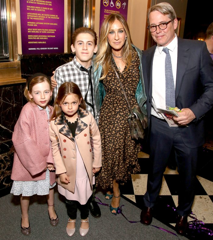 Tabitha Broderick, Marion Loretta Broderick, James Wilkie Broderick, Sarah Jessica Parker and Matthew Broderick attending the Broadway Opening Performance After Party for 'Charlie and the Chocolate Factory' at the Pier 60 on April 23, 2017 in New York City.