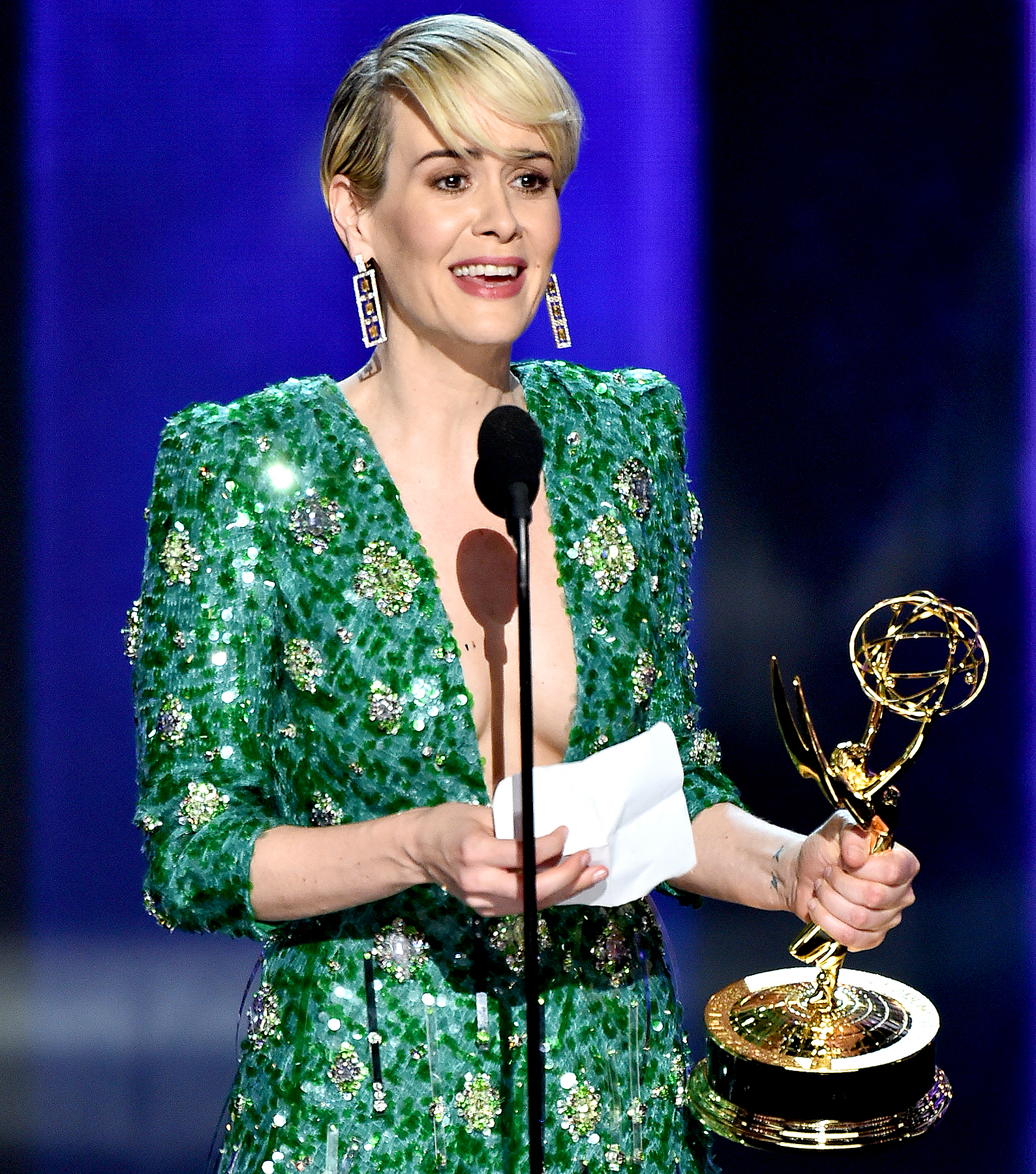 Sarah Paulson accepts the award for Outstanding Lead Actress in a Limited Series or a Movie for 'The People v. O.J. Simpson: American Crime Story' at the 68th annual Primetime Emmy Awards on Sunday, Sept. 18, 2016, at the Microsoft Theater in Los Angeles.