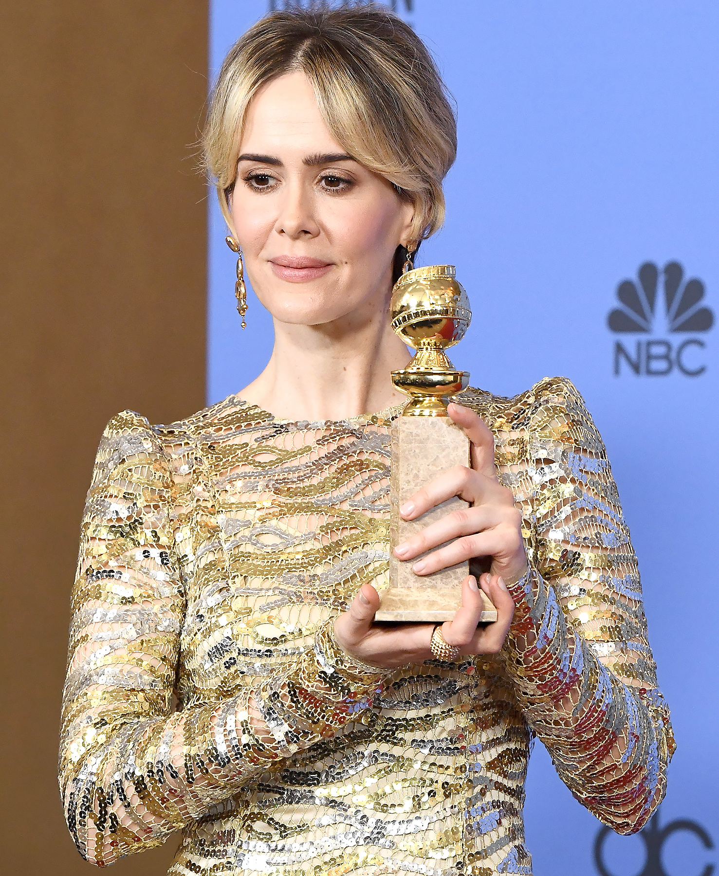 Sarah Paulson, winner of the Best Performance in a Miniseries or Television Film, for 'The People v. O.J. Simpson- American Crime Story'.