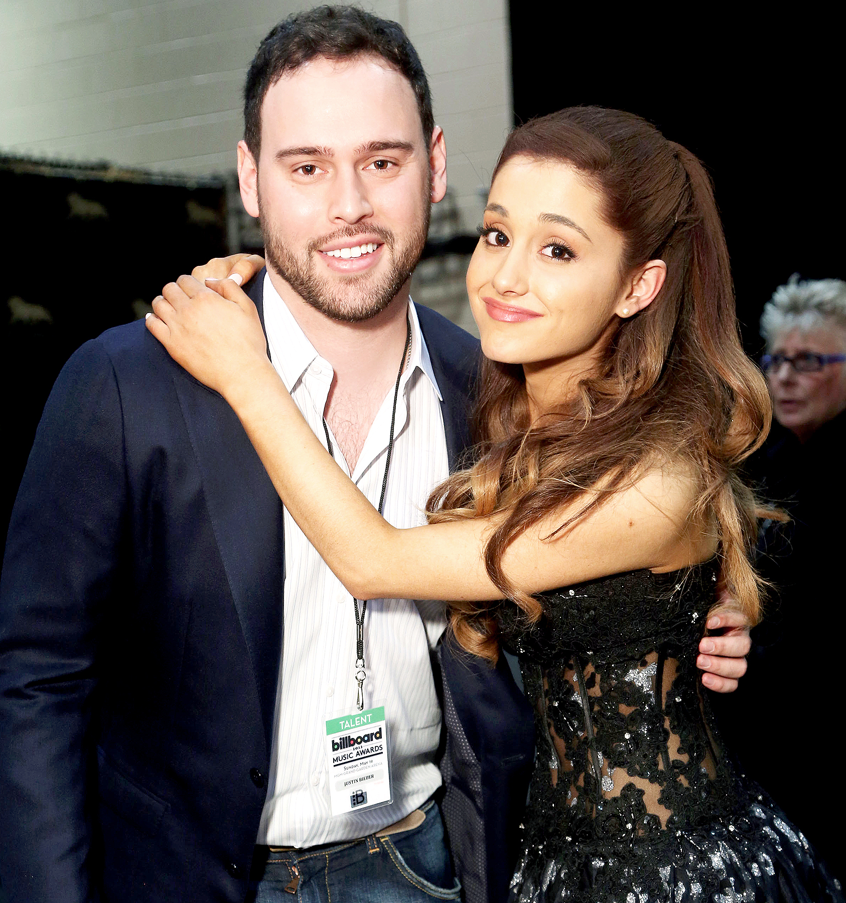 Scooter Braun and Ariana Grande attend the 2013 Billboard Music Awards in Las Vegas, Nevada on May 19, 2013.