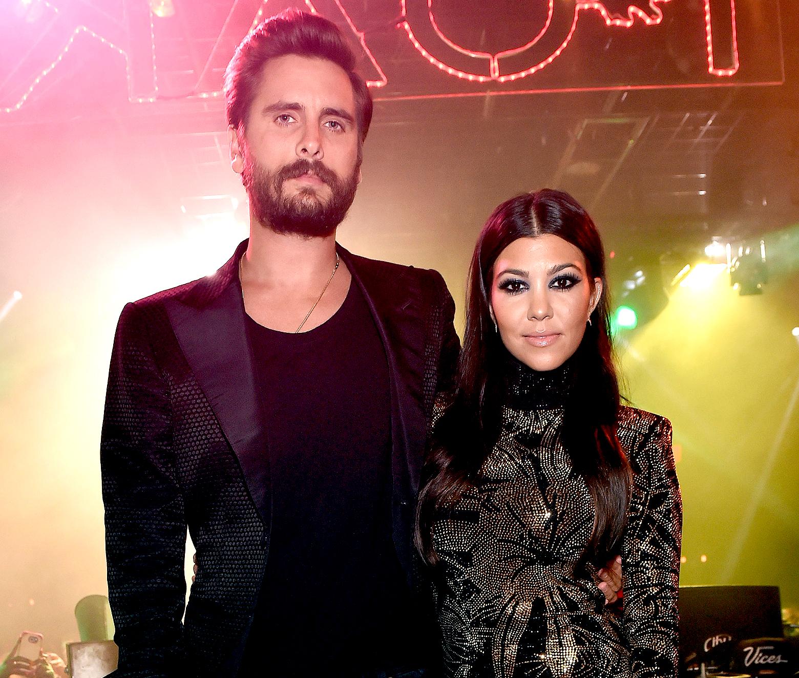 Scott Disick and Kourtney Kardashian attend his birthday celebration at 1 OAK Nightclub at The Mirage Hotel & Casino on May 23, 2015 in Las Vegas, Nevada.