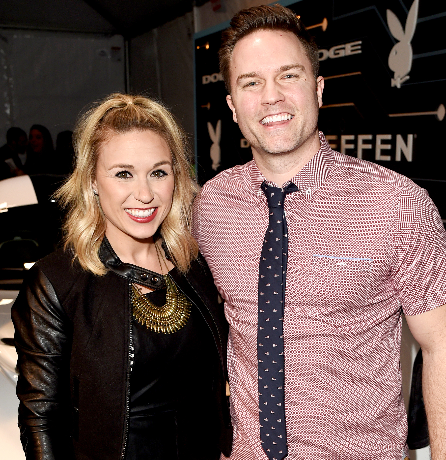 Kelsey Mayfield and Scott Porter arrive at The Playboy Party during Super Bowl Weekend, which celebrated the future of Playboy and its newly redesigned magazine in a transformed space within Lot A of AT&T Park on February 5, 2016 in San Francisco, California.