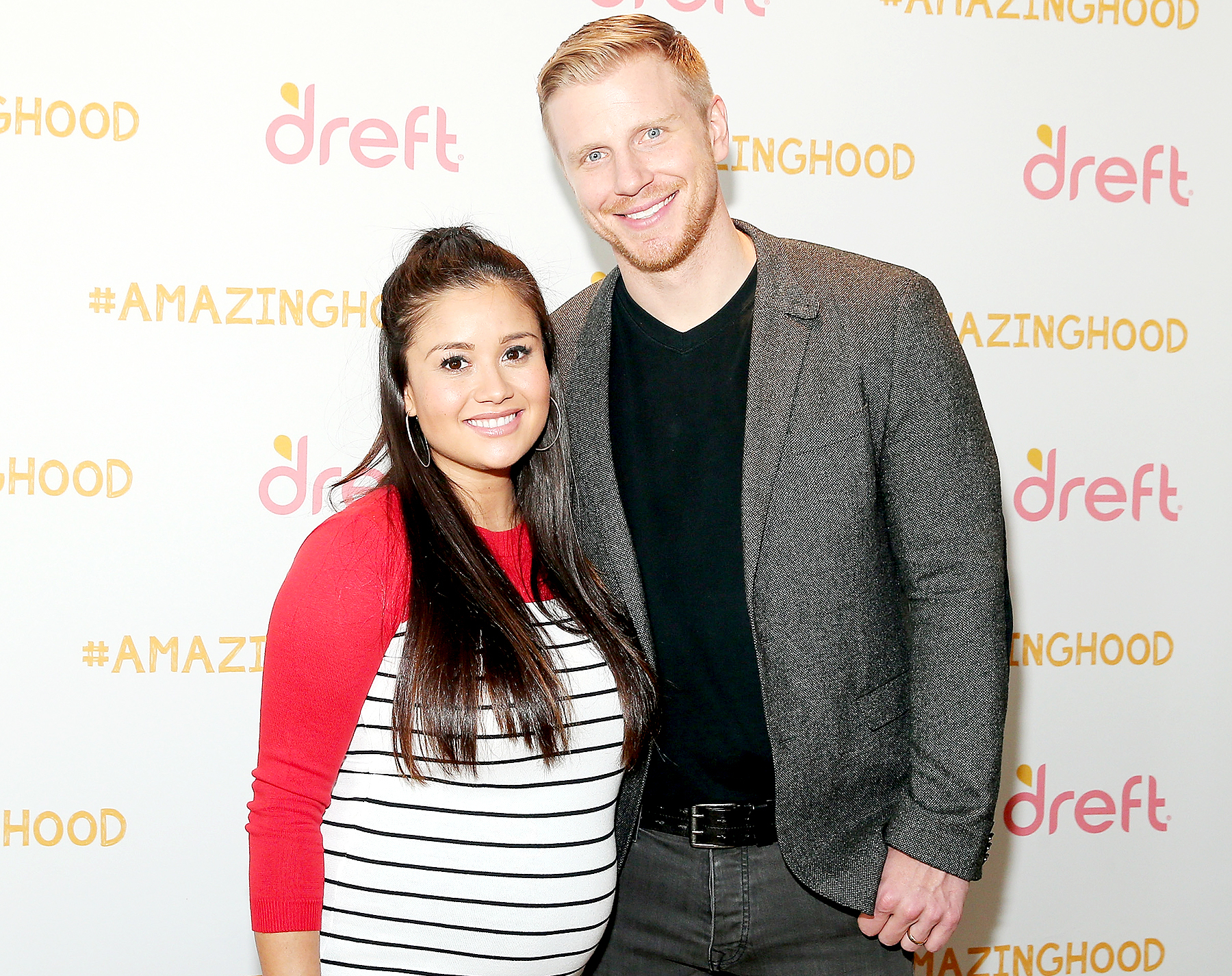 Catherine Lowe and Sean Lowe pose for a photo at the #Amazinghood Baby Shower at Gansevoort Park Avenue on April 27, 2016 in New York City.