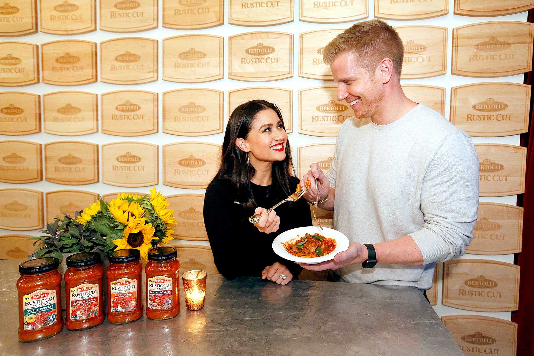 Sean and Catherine Lowe of The Bachelor enjoy a Tuscan-inspired Cavatelli made with the new Bertolli Rustic Cut Pasta Sauces at Gramercy Terrace on Wednesday, Oct. 4, 2017 in New York.