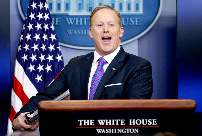 Sean Spicer smiles as he wraps up a daily press briefing at the James Brady Press Briefing Room February 14, 2017 at the White House in Washington, DC.