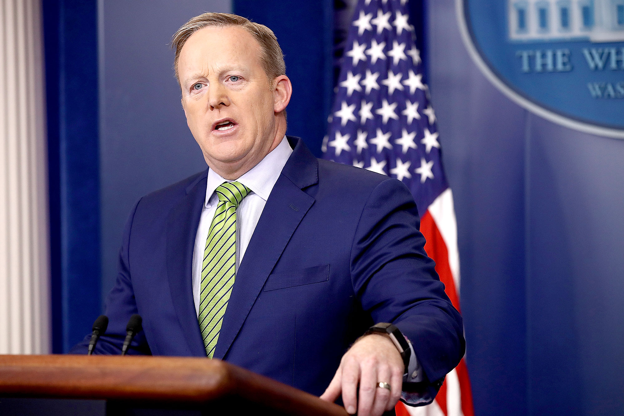 White House Press Secretary Sean Spicer answers questions in the White House briefing room February 2, 2017 in Washington, DC.