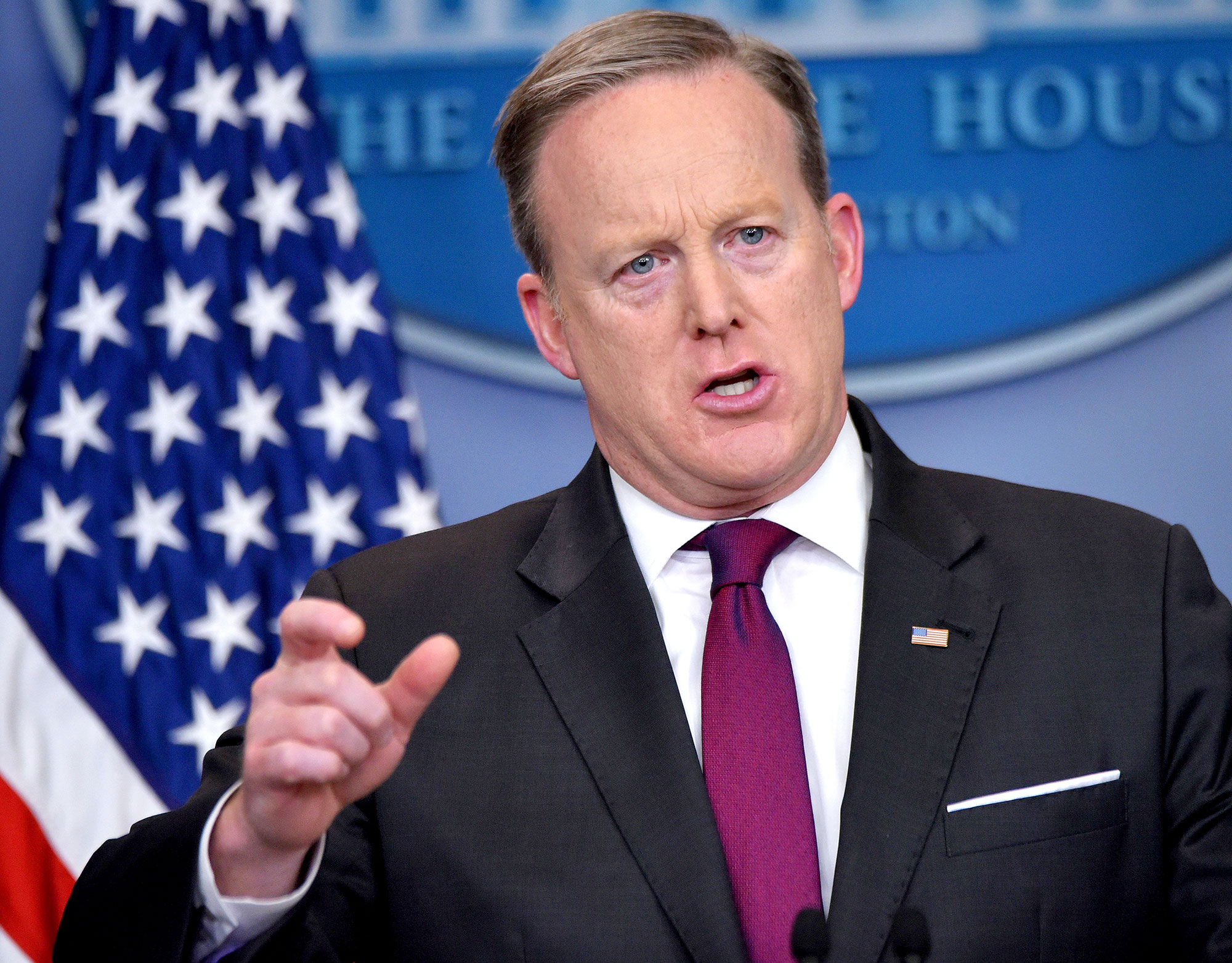 White House Press Secretary Sean Spicer speaks during the daily briefing in the Brady Briefing Room of the White House on February 23, 2017 in the Washington, DC.