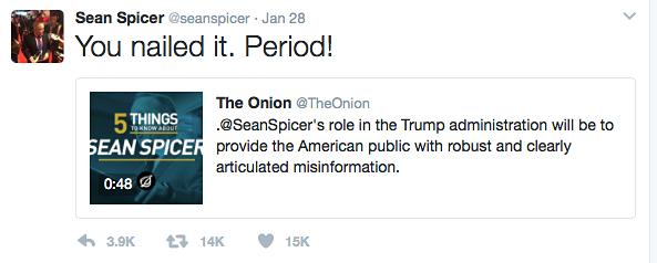 Sean Spicer tweet