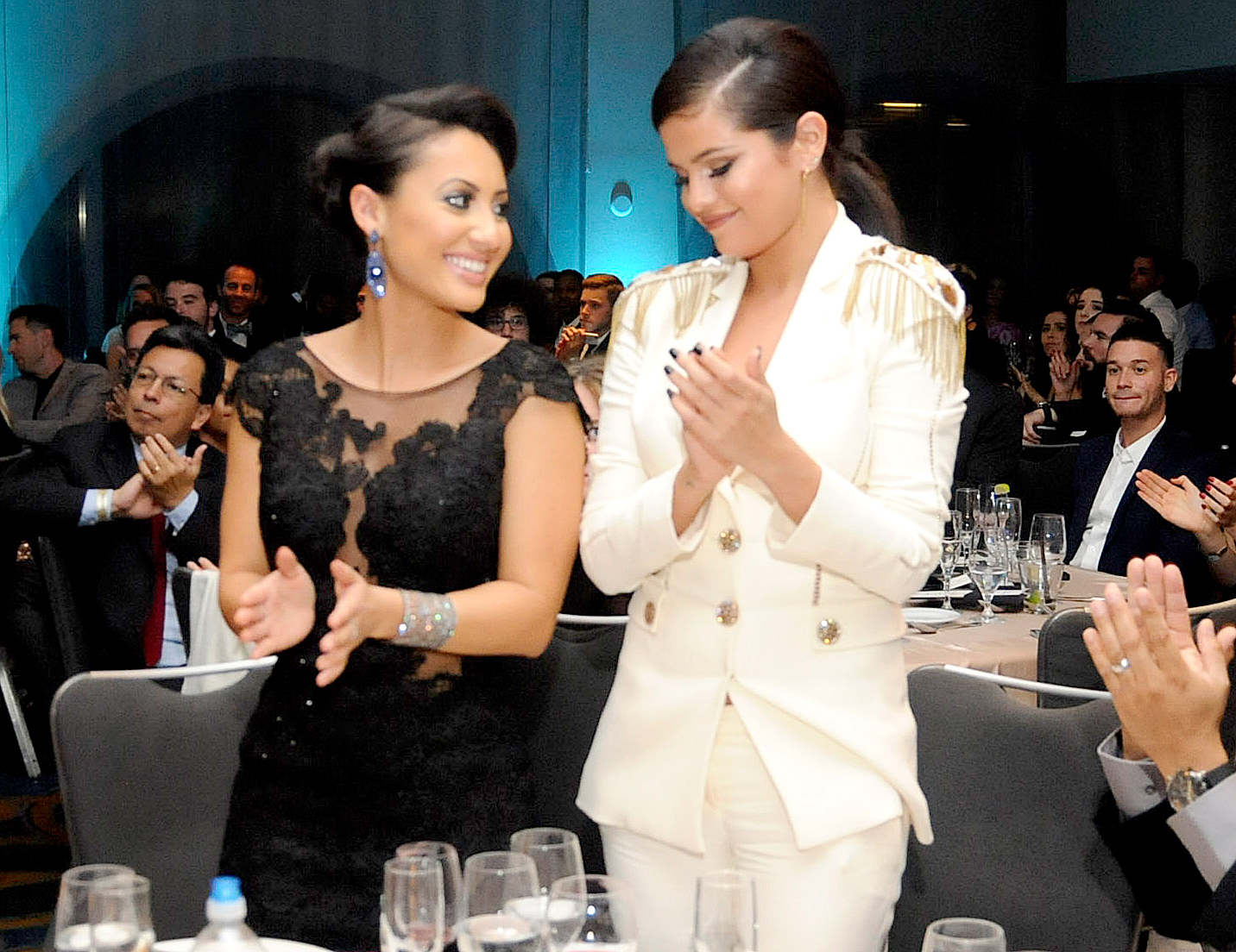Francia Raisa and Selena Gomez attend the Unlikely Heroes' 3rd Annual Awards Dinner And Gala at Sofitel Hotel on November 8, 2014 in Los Angeles, California.