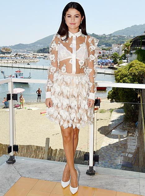 selena gomez sheer white outfit