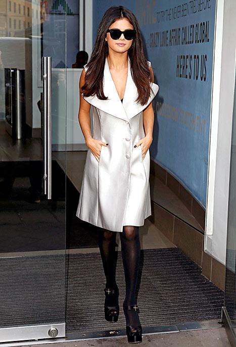 Selena Gomez - White Coat Dress