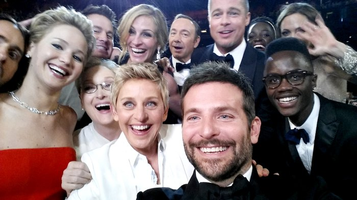 Ellen DeGeneres poses for a selfie taken by Bradley Cooper with (clockwise from L-R) Jared Leto, Jennifer Lawrence, Channing Tatum, Meryl Streep, Julia Roberts, Kevin Spacey, Brad Pitt, Lupita Nyong'o, Angelina Jolie, Peter Nyong'o Jr. and Bradley Cooper during the 86th Annual Academy Awards at the Dolby Theatre on March 2, 2014.