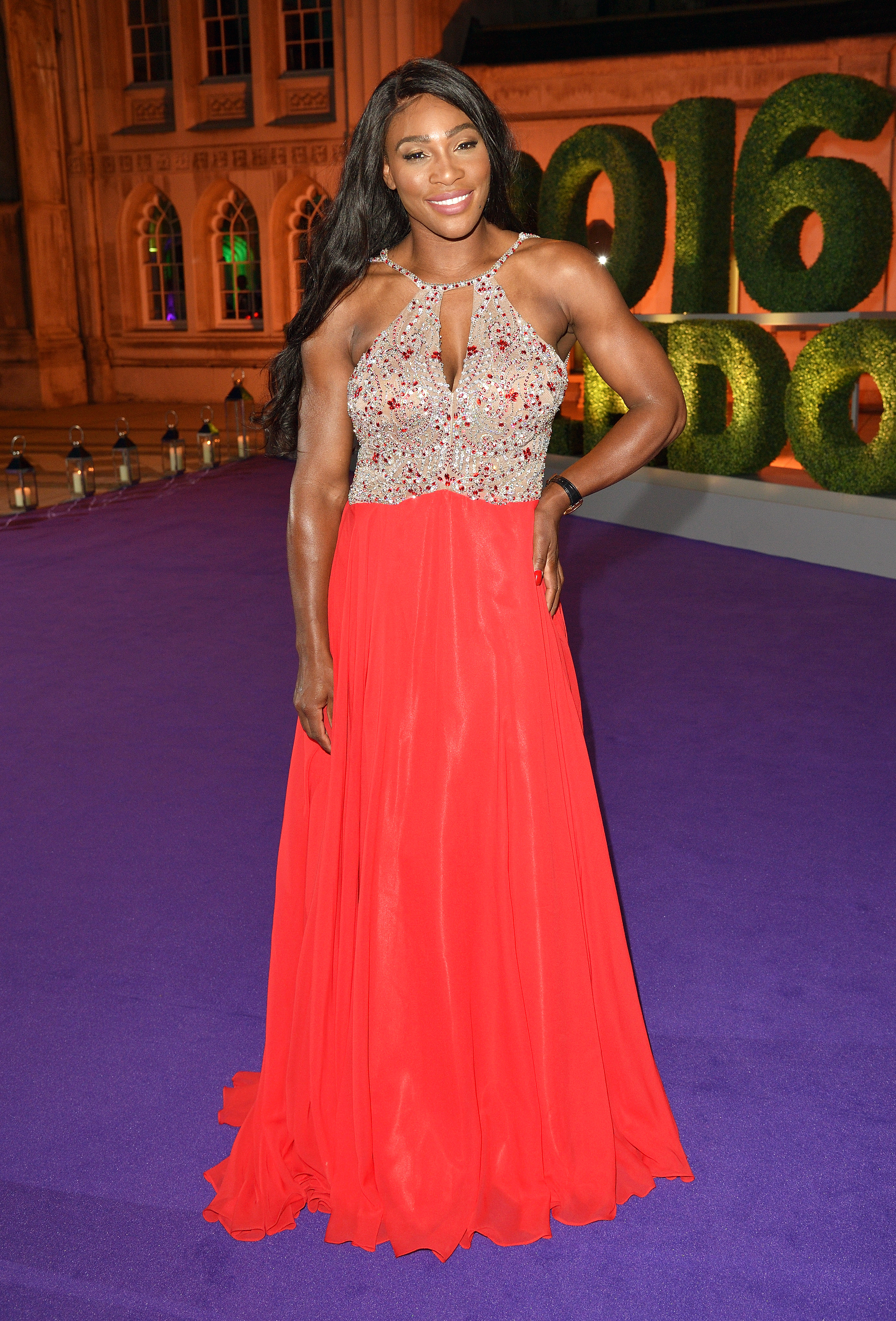 Serena Williams Wins Red Carpet in Coral Dress at Wimbledon Ball: Photo