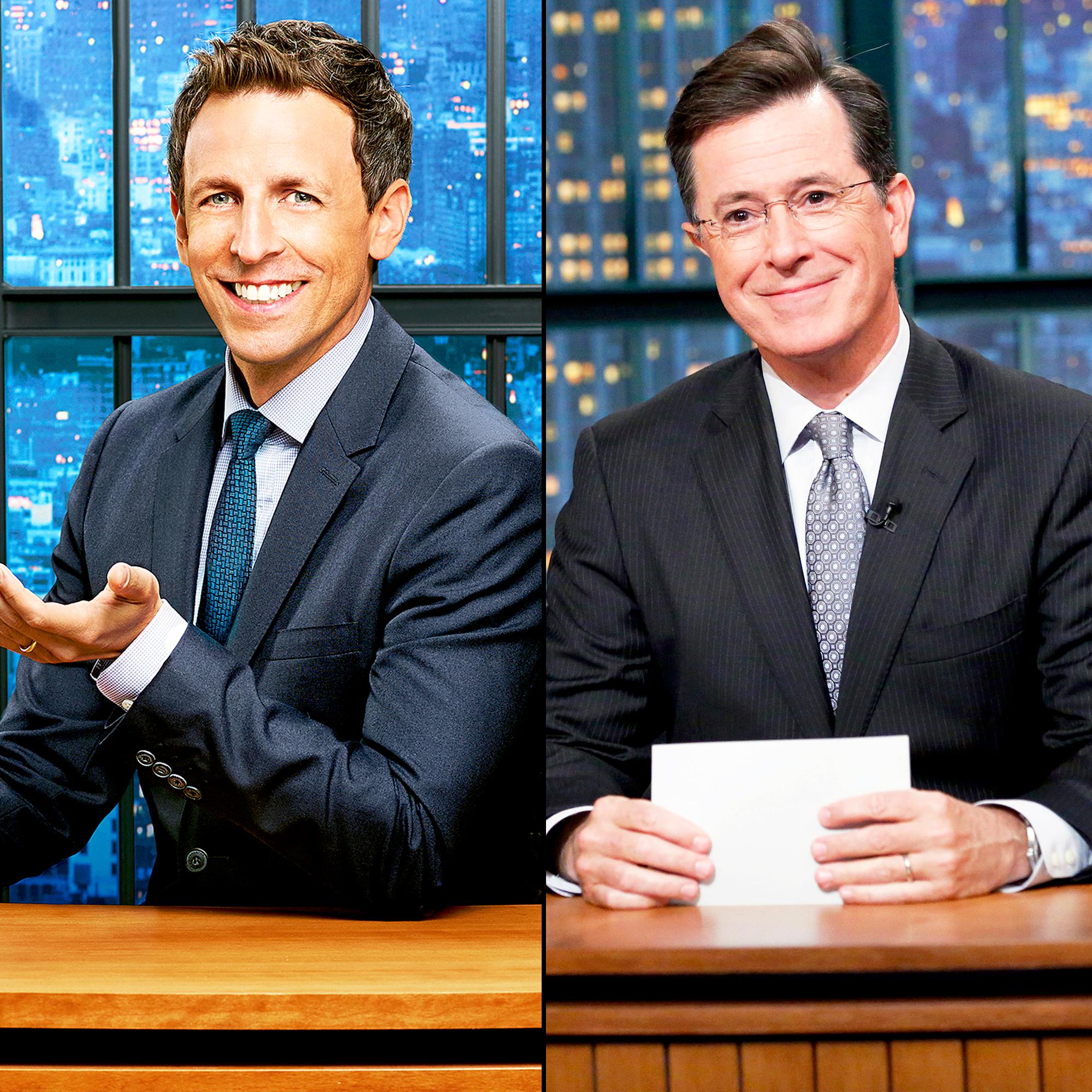Seth Meyers and Stephen Colbert