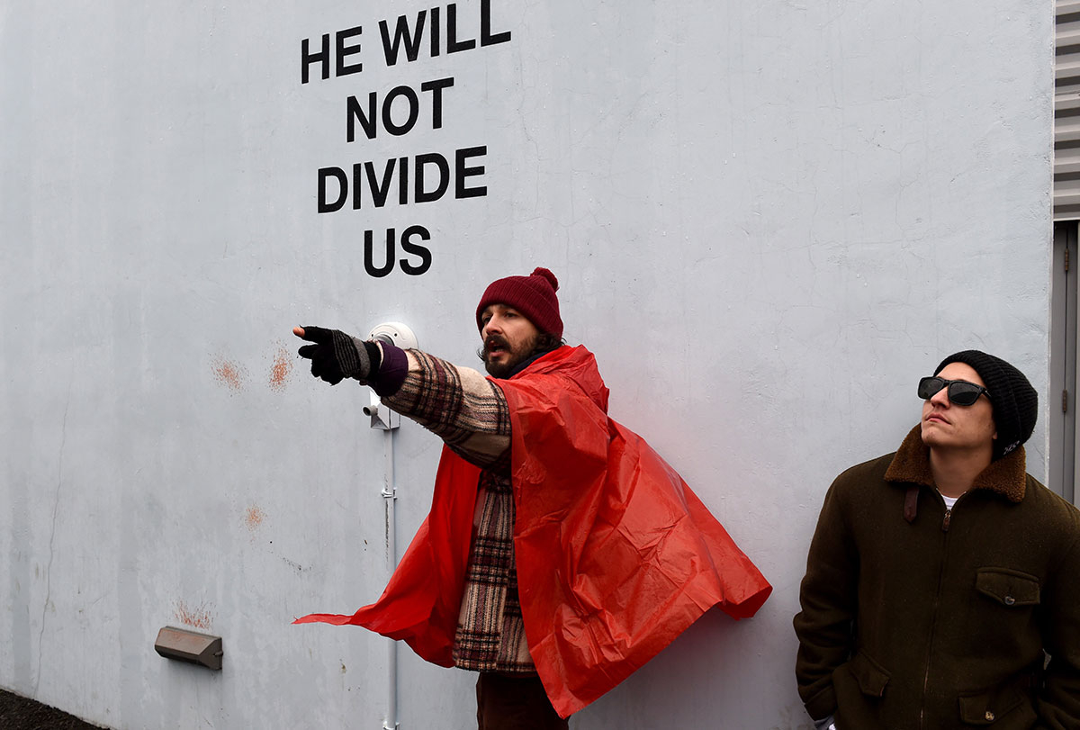 Shia LaBeouf at his 'He Will Not Divide Us' protest, where he was arrested.