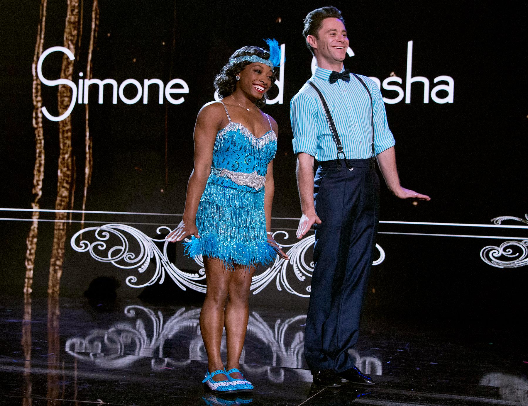 Simone Biles and Sasha Farber on Dancing with the Stars.