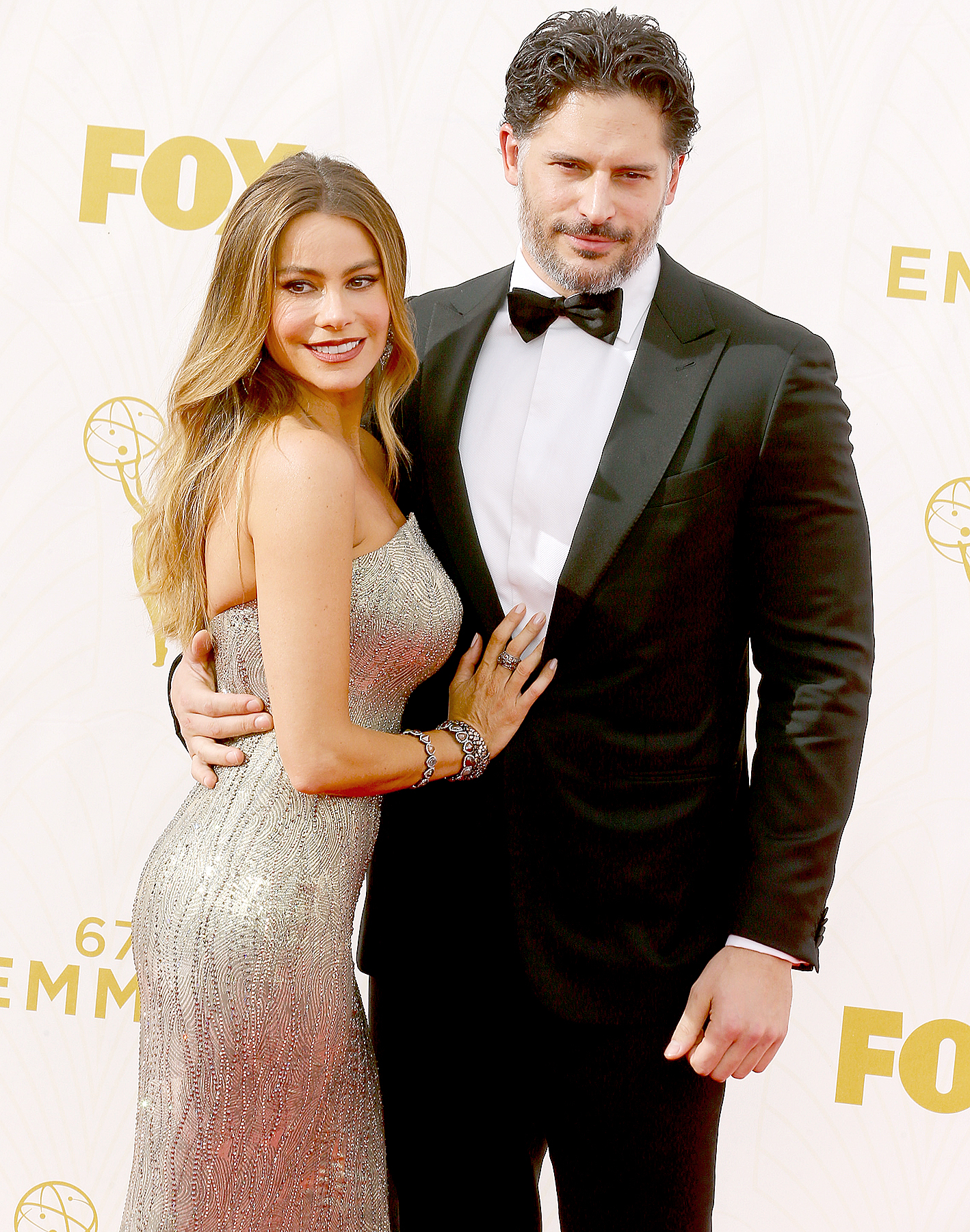 Sofia Vergara and Joe Manganiello attend the 67th Annual Primetime Emmy Awards at Microsoft Theater on September 20, 2015 in Los Angeles, California.