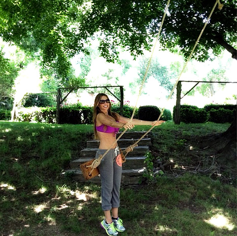 Sofia Vergara geetting ready to swing