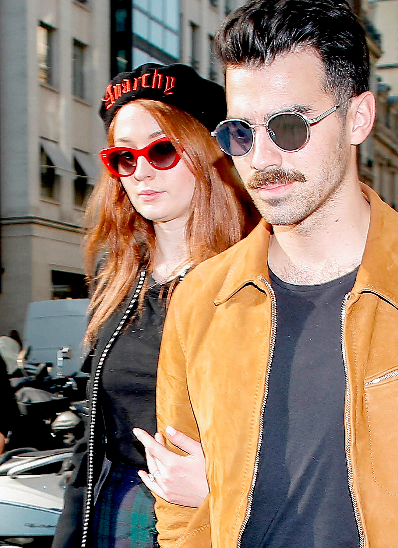 Newly engaged singer Joe Jonas and Game of Thrones' star Sophie Turner enjoying a shopping day in Paris on October 17, 2017.