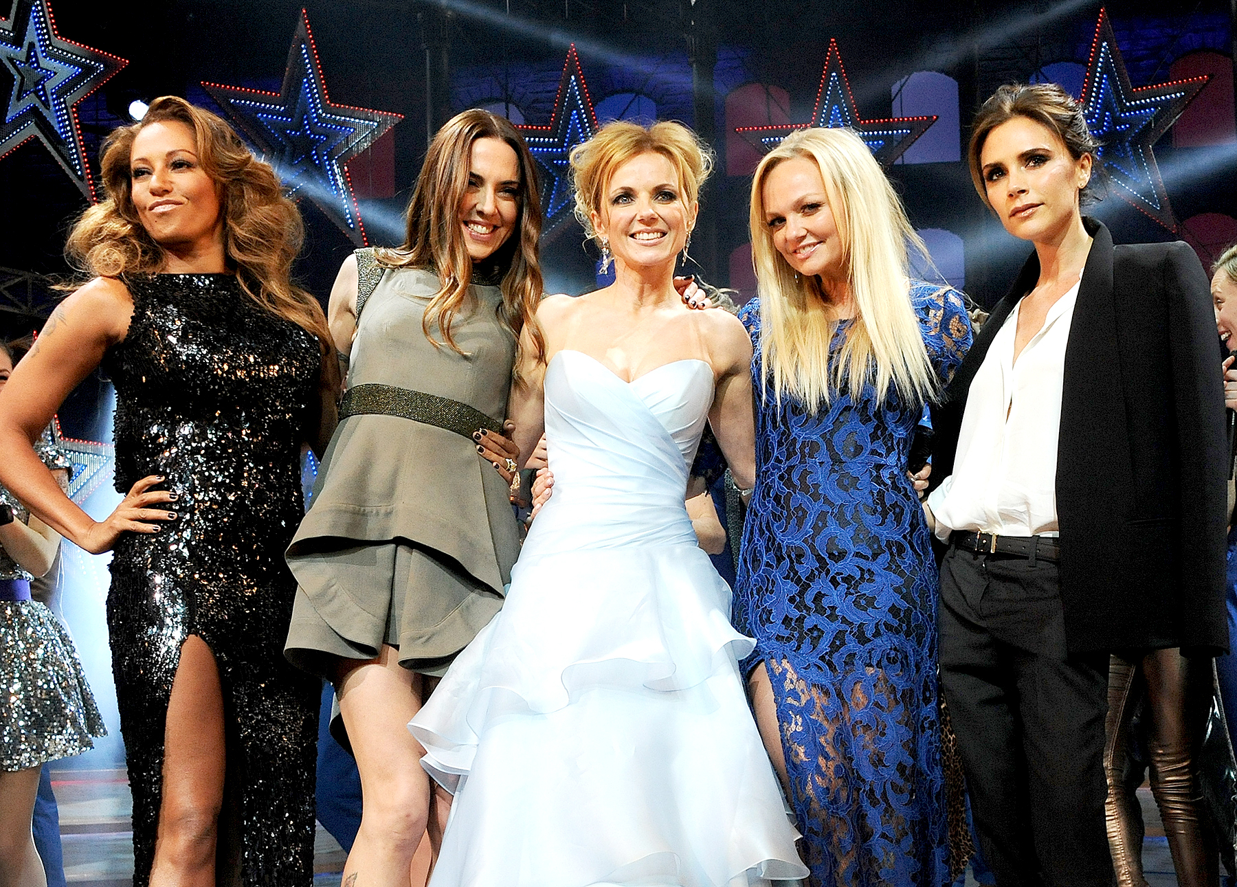Brown, Melanie Chisholm, Geri Halliwell, Emma Bunton and Victoria Beckham bow at the curtain call during the Gala Press Night performance of 'Viva Forever' at the Piccadilly Theatre on December 11, 2012 in London, England.