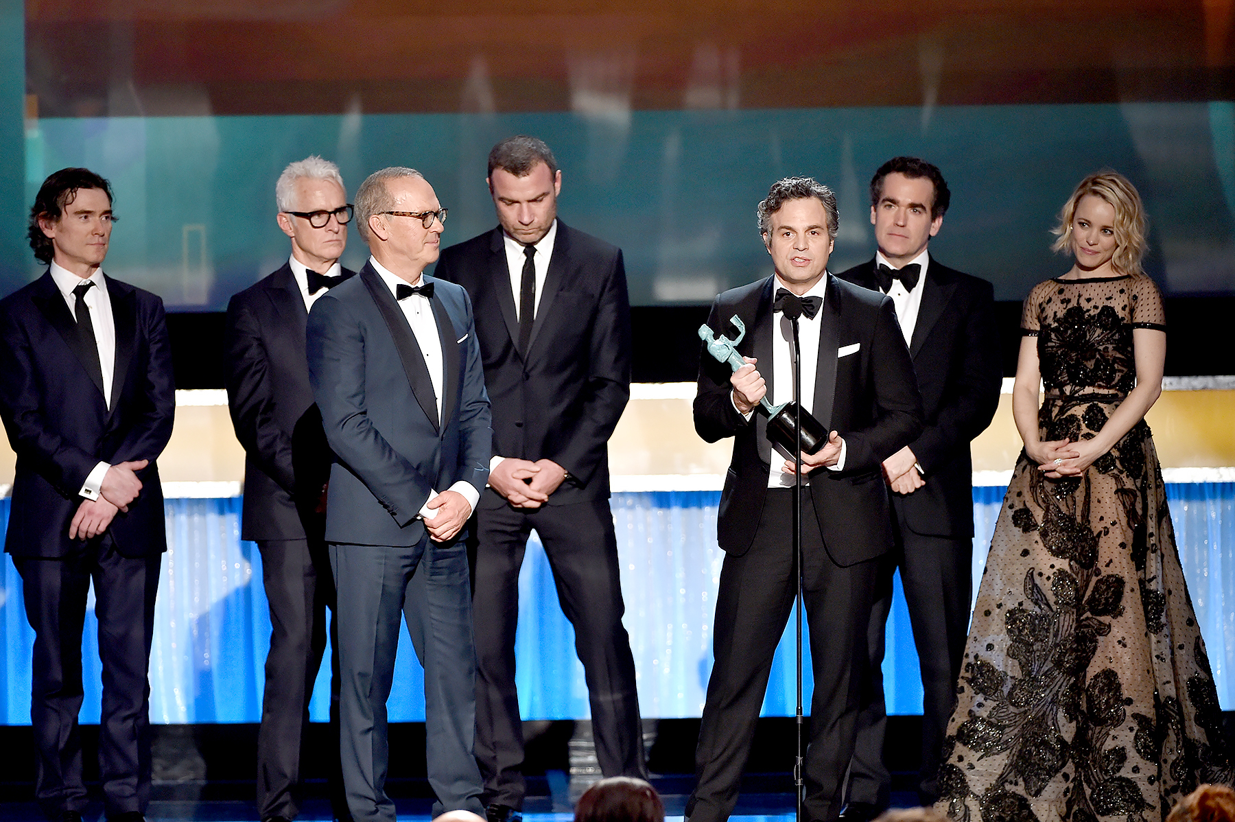 Billy Crudup, John Slattery, Michael Keaton, Liev Schreiber, Mark Ruffalo, Brian d'Arcy James and Rachel McAdams accept the Cast in a Motion Picture award for 'Spotlight' onstage during The 22nd Annual Screen Actors Guild Awards.