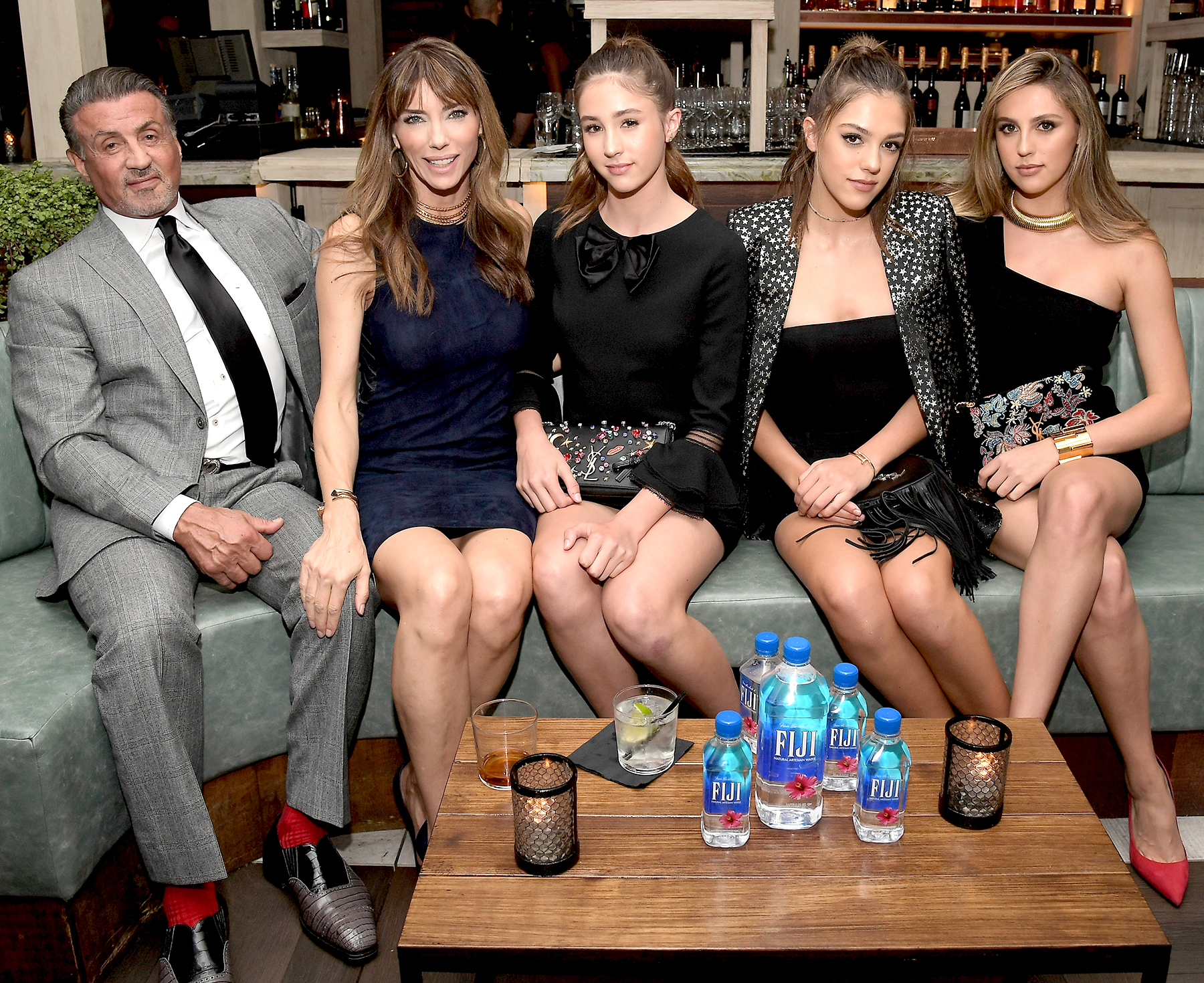 Sylvester Stallone, Jennifer Flavin, 2016 Miss Golden Globes Scarlet Stallone, Sistine Stallone, and Sophia Stallone attend the Hollywood Foreign Press Association and InStyle's Celebration of the 2017 Golden Globe Awards Season on November 10, 2016 in West Hollywood, California.