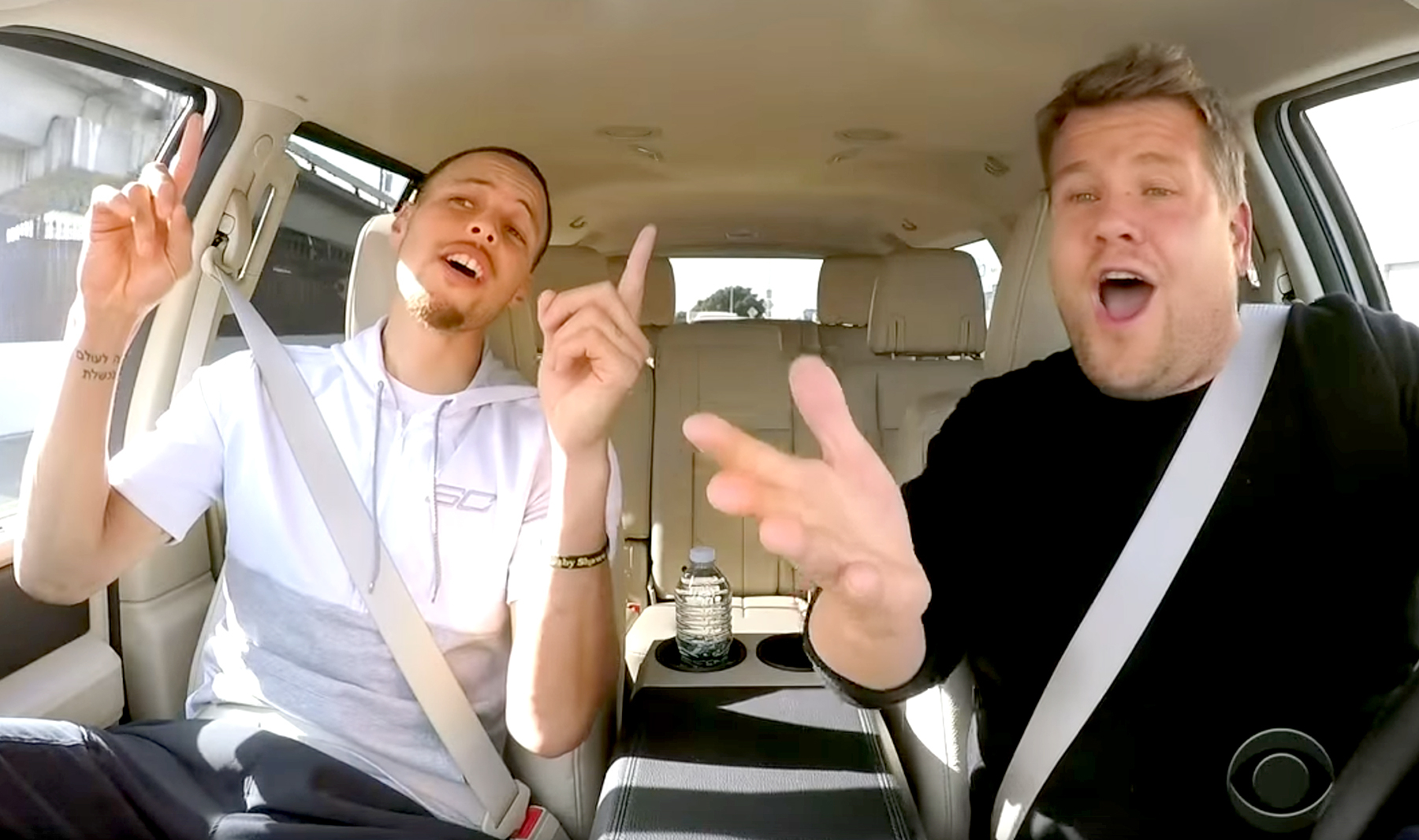 Stephen Curry and James Corden