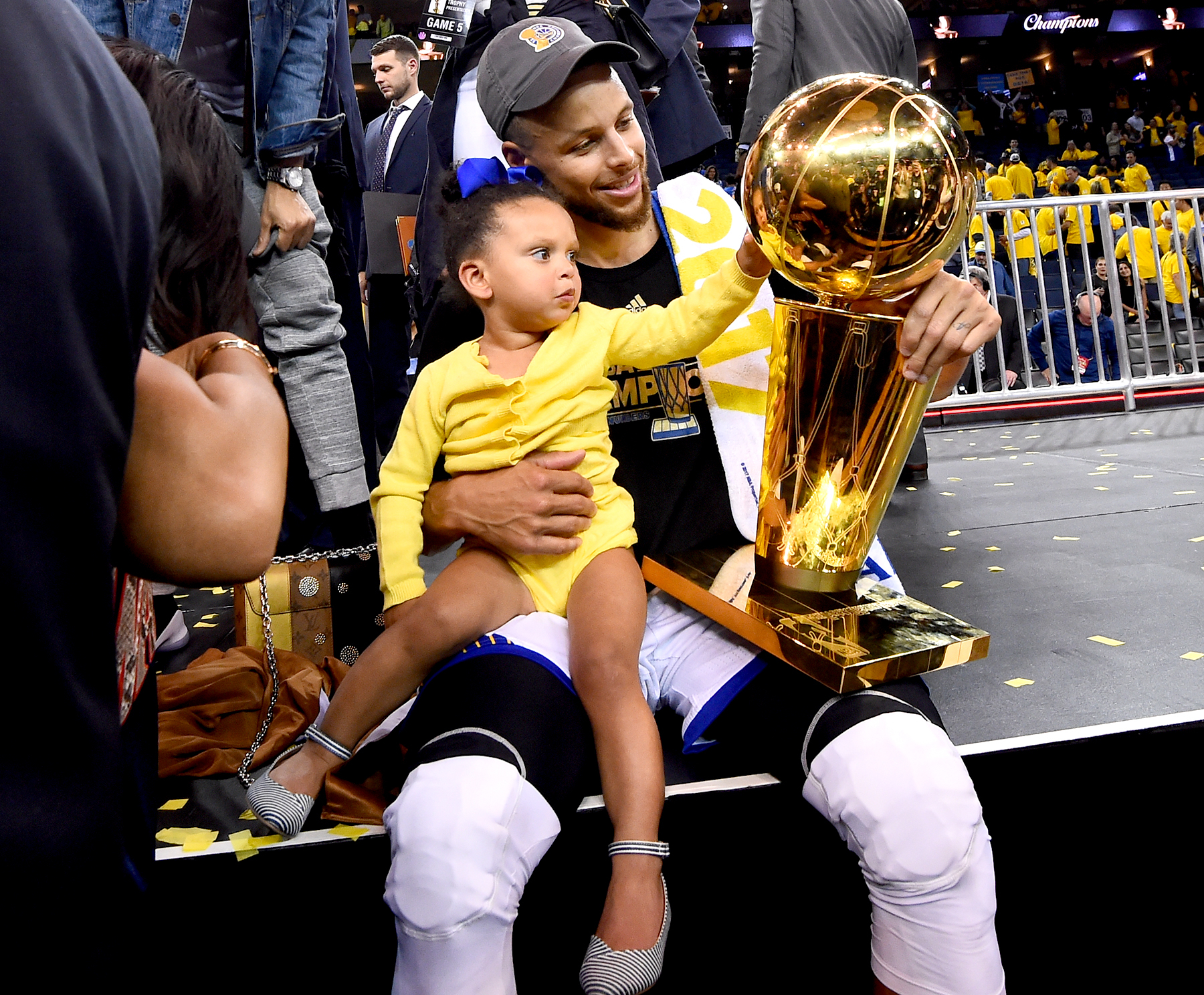 Stephen Curry #30 of the Golden State Warriors celebrates after winning the NBA Championship in Game Five against the Cleveland Cavaliers of the 2017 NBA Finals on June 12, 2017 at Oracle Arena in Oakland, California.