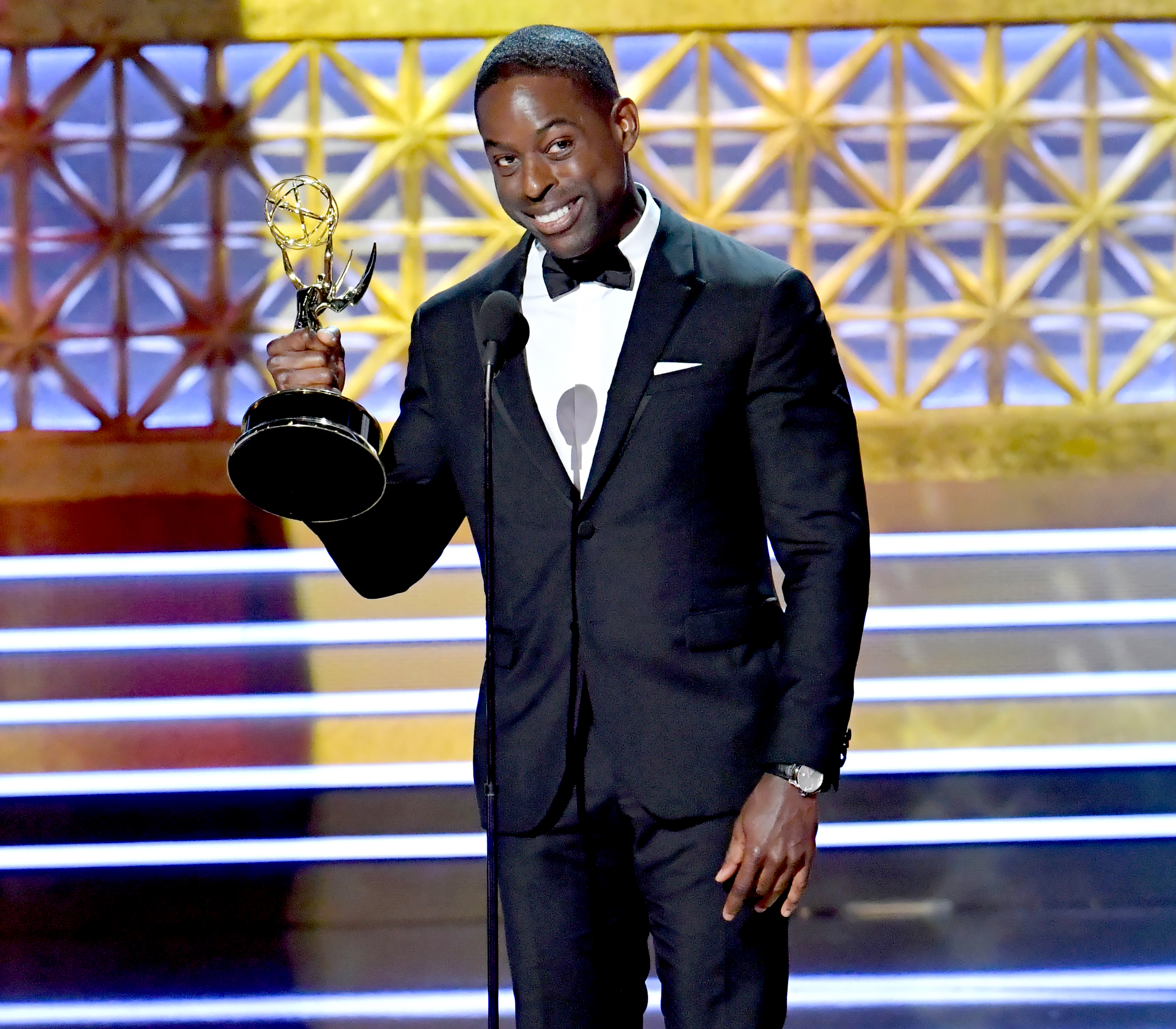 Sterling K. Brown accepts the Outstanding Lead Actor in a Drama Series award for 'This Is Us' onstage during the 69th Annual Primetime Emmy Awards at Microsoft Theater on September 17, 2017 in Los Angeles, California.
