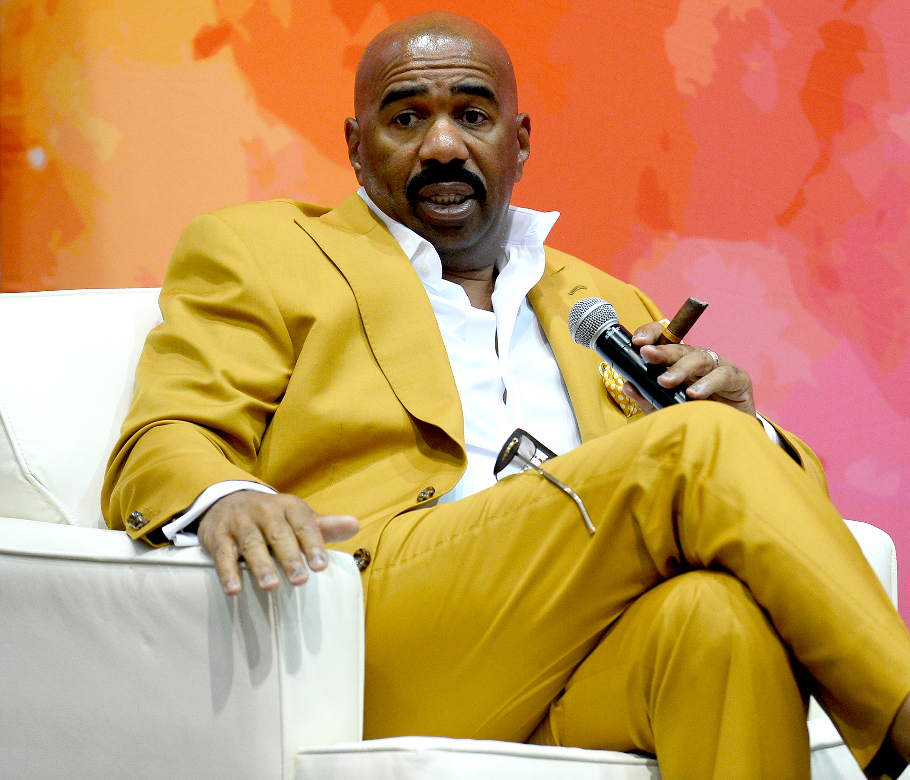Steve Harvey speaks at the State Farm Color Full Lives Art Gallery during the 2016 State Farm Neighborhood Awards at Mandalay Bay Resort and Casino on July 22, 2016 in Las Vegas, Nevada.