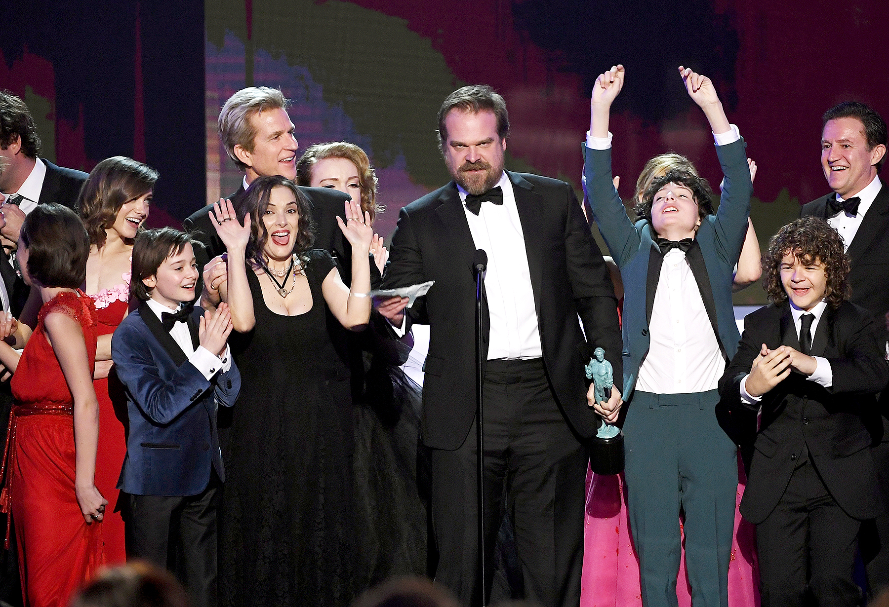 Natalia Dyer, Noah Schnapp, Winona Ryder, Matthew Modine, Shannon Purser, David Harbour, Finn Wolfhard and Gaten Matarazzo of 'Stranger Things' accept Outstanding Performance by an Ensemble in a Drama Series onstage during the 23rd Annual Screen Actors Guild Awards at the Shrine Auditorium on Jan. 29, 2017, in Los Angeles.