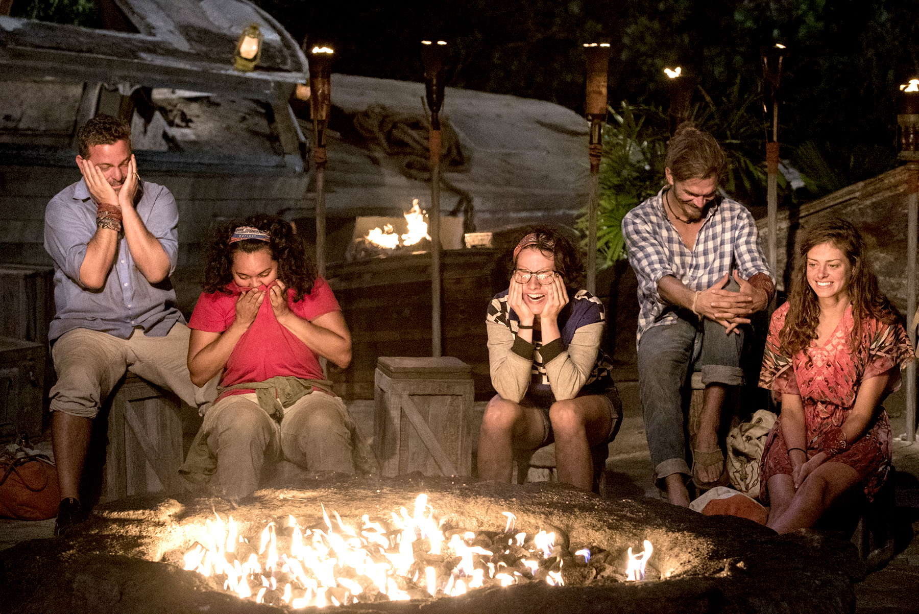 Jeff Varner, Sandra Diaz-Twine, Aubry Bracco, Malcolm Freberg and Hali Ford at Tribal Council on SURVIVOR: Game Changers