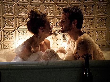 Sutton Foster and Nico Tortorella in bathtub
