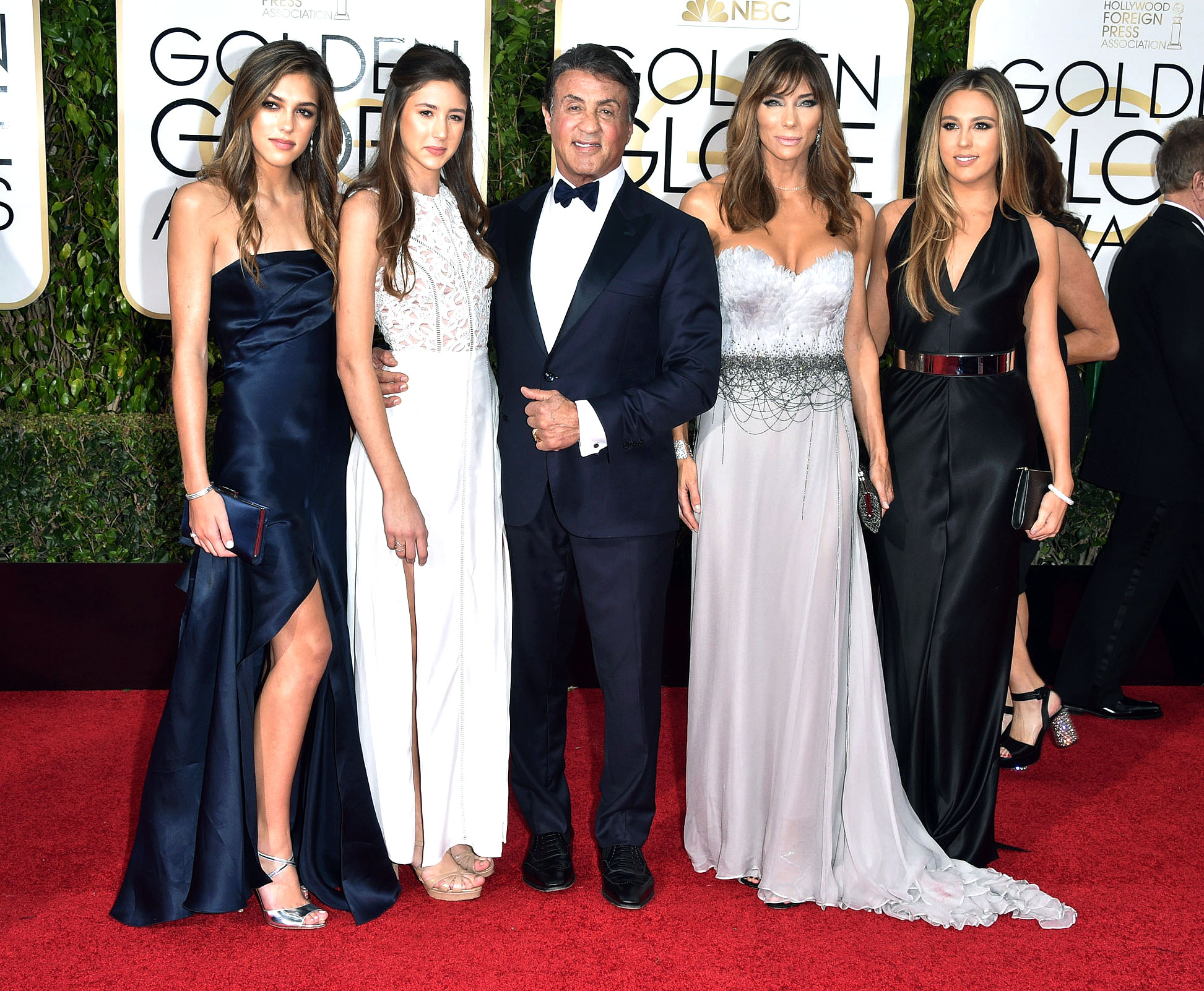 Sylvester Stallon and family at the Golden Globes 2016