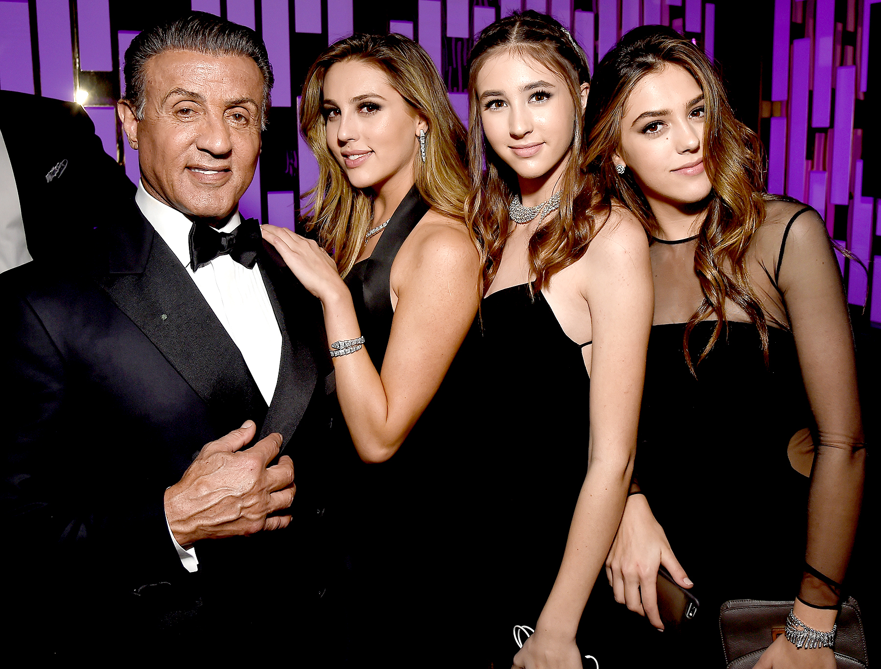 Sylvester Stallone, Scarlet Rose Stallone, Sophia Rose Stallone and Sistine Rose Stallone attend The 2017 InStyle and Warner Bros. 73rd Annual Golden Globe Awards Post-Party at the Beverly Hilton Hotel on January 8, 2017 in Beverly Hills, California.