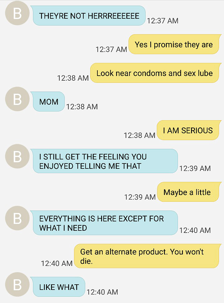 viral text message exchange tampons