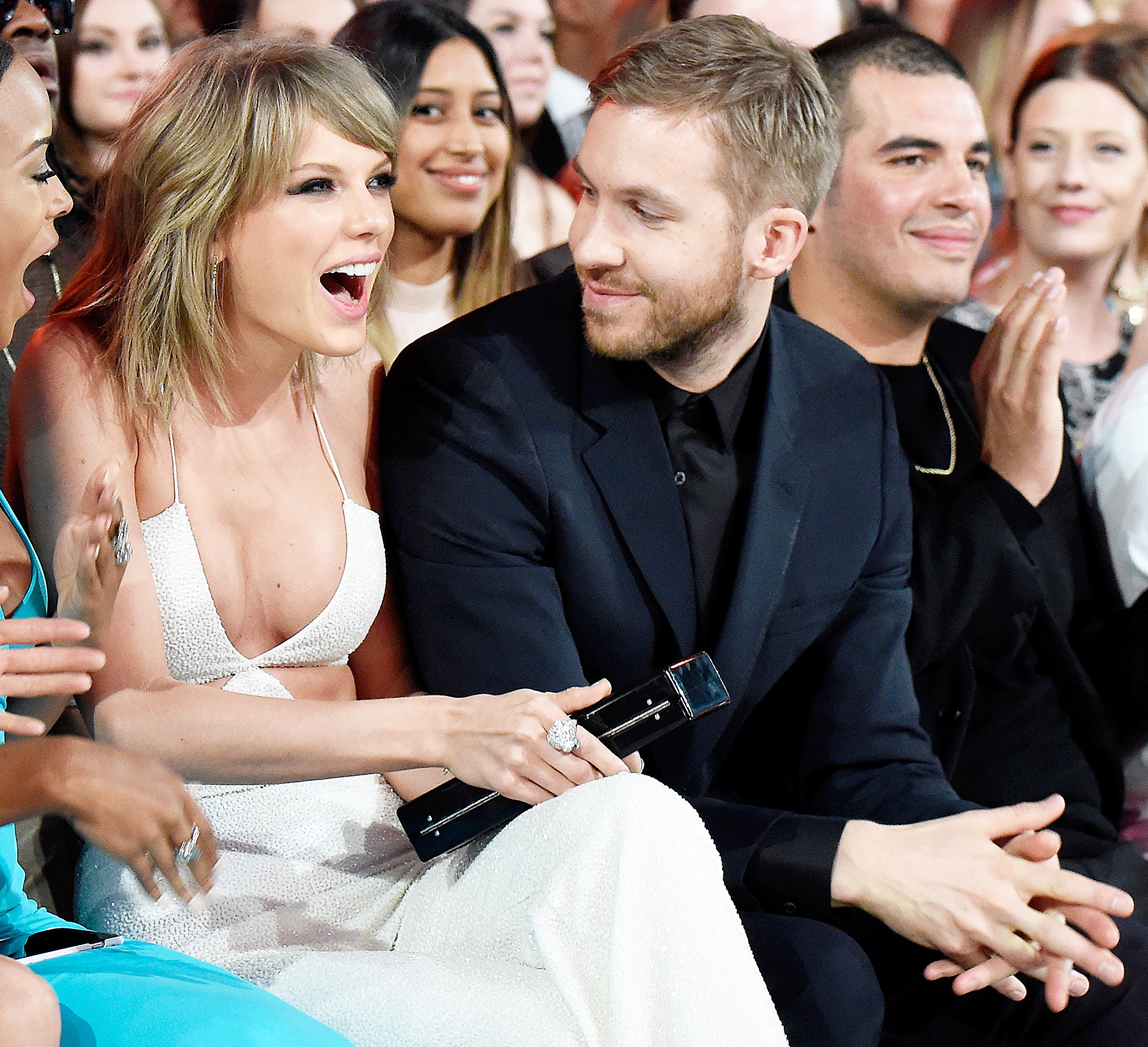 """Taylor Swift and Calvin Harris - Swift met the Scottish DJ backstage at the 2015 Brit Awards and made it official on March 6, 2015. """"I'm in a magical relationship right now. And of course I want it to be ours, and low-key,"""" she told Vogue in April 2016."""
