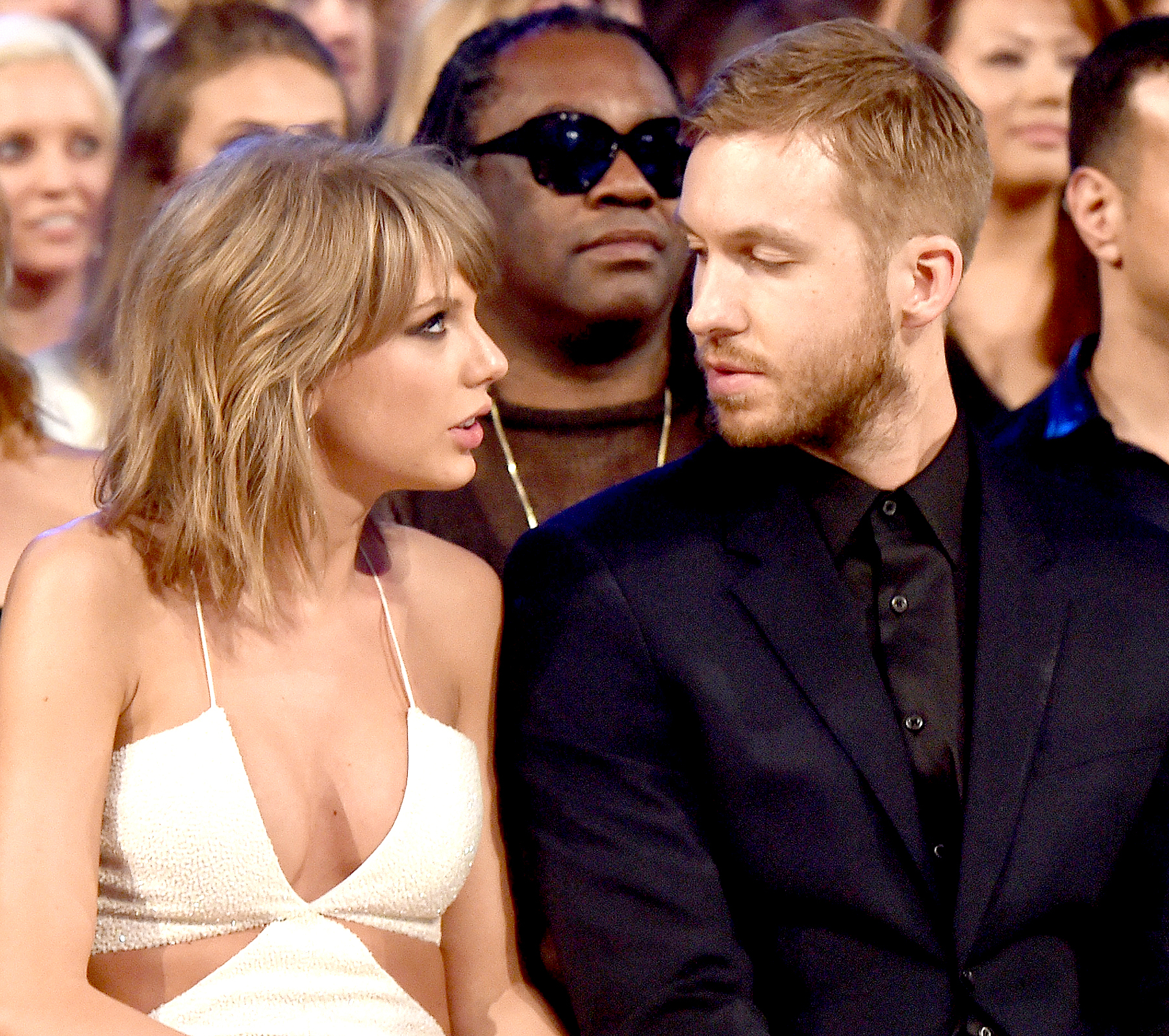 Taylor Swift and Calvin Harris attend the 2015 Billboard Music Awards at MGM Grand Garden Arena on May 17, 2015 in Las Vegas, Nevada.