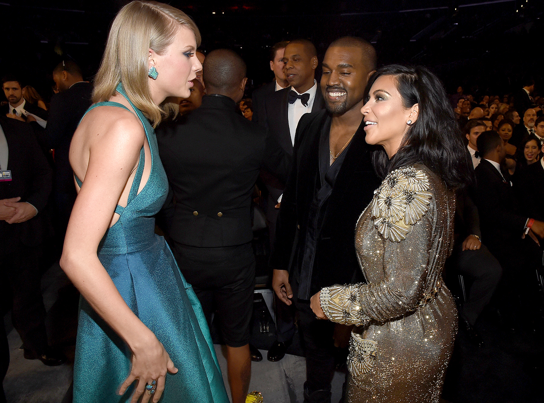 Taylor Swift, Jay Z and Kanye West and tv personality Kim Kardashian attend The 57th Annual GRAMMY Awards at the STAPLES Center on February 8, 2015 in Los Angeles, California.
