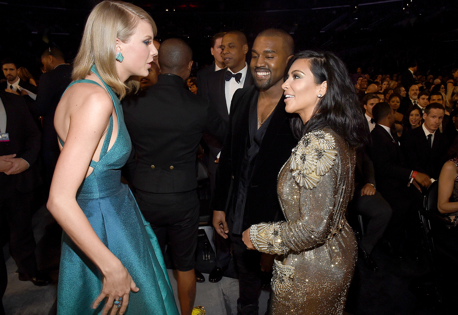 Taylor Swift, Kanye West and Kim Kardashian attend the 57th Annual Grammy Awards at the Staples Center in Los Angeles on February 8, 2015.