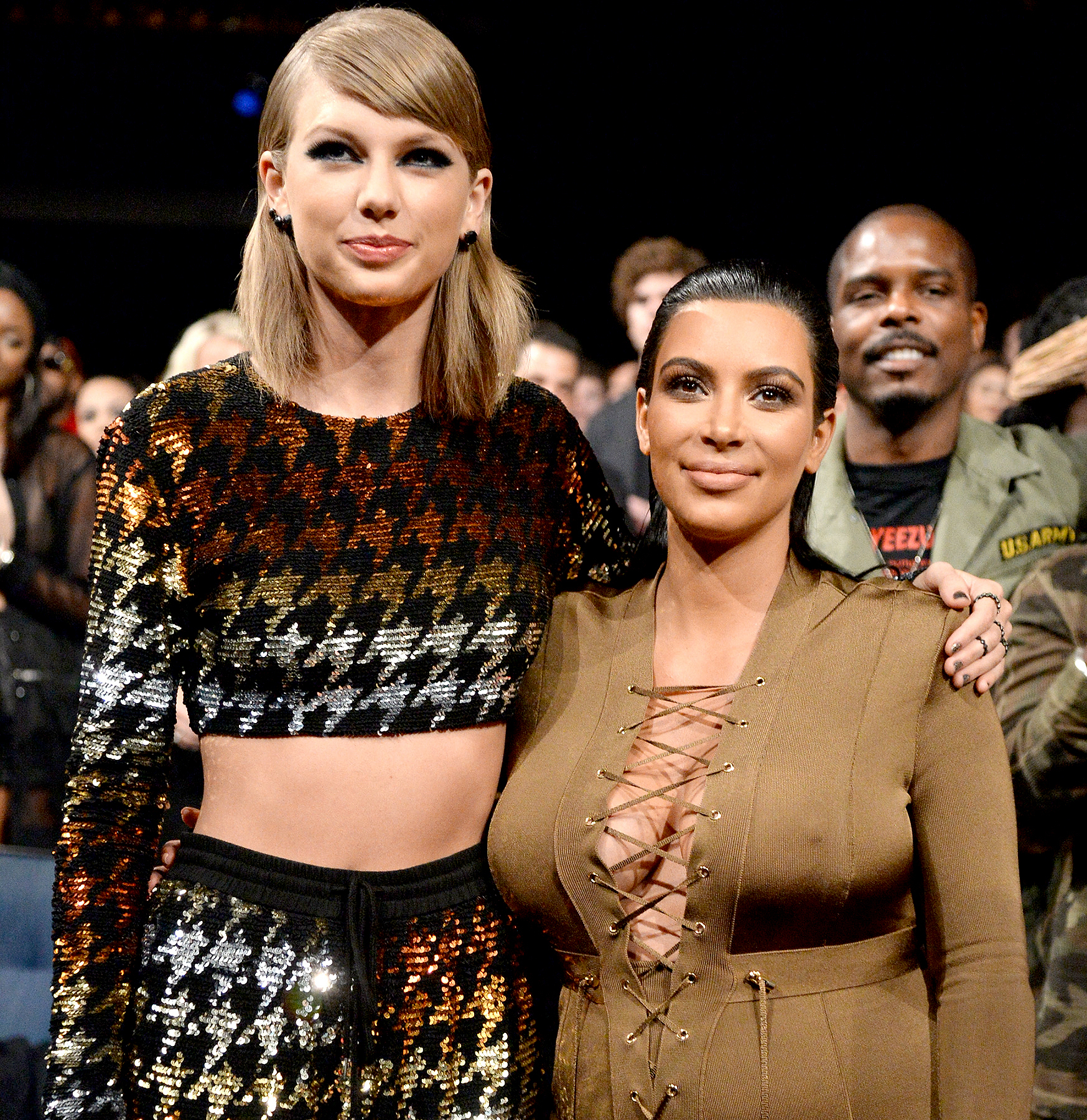 Taylor Swift and Kim Kardashian West attend the 2015 MTV Video Music Awards at Microsoft Theater on August 30, 2015 in Los Angeles, California.