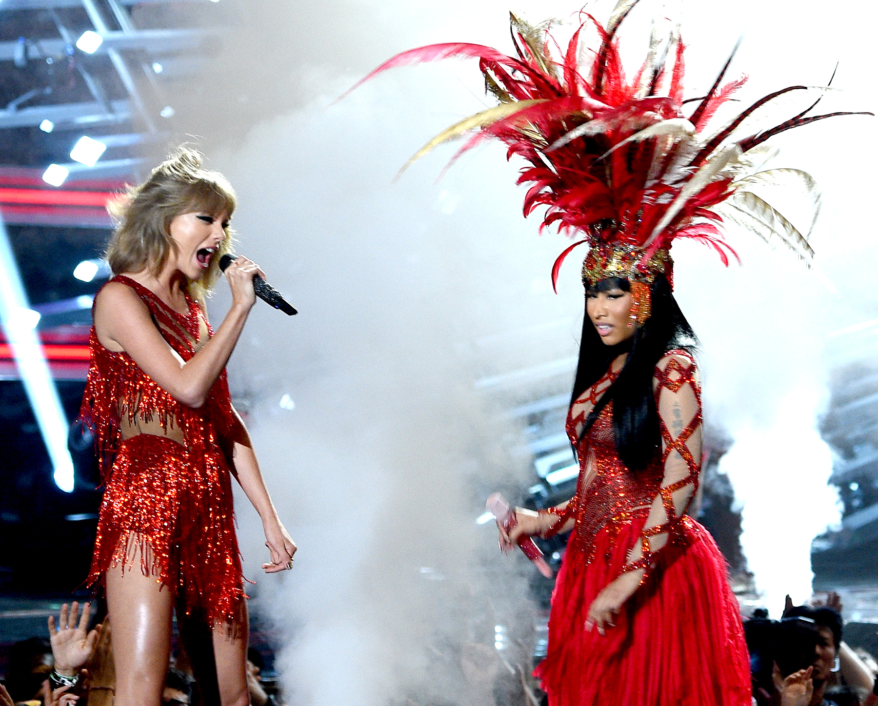 Taylor Swift (left) and Nicki Minaj perform onstage during the 2015 MTV Video Music Awards at Microsoft Theater on August 30, 2015 in Los Angeles, California.