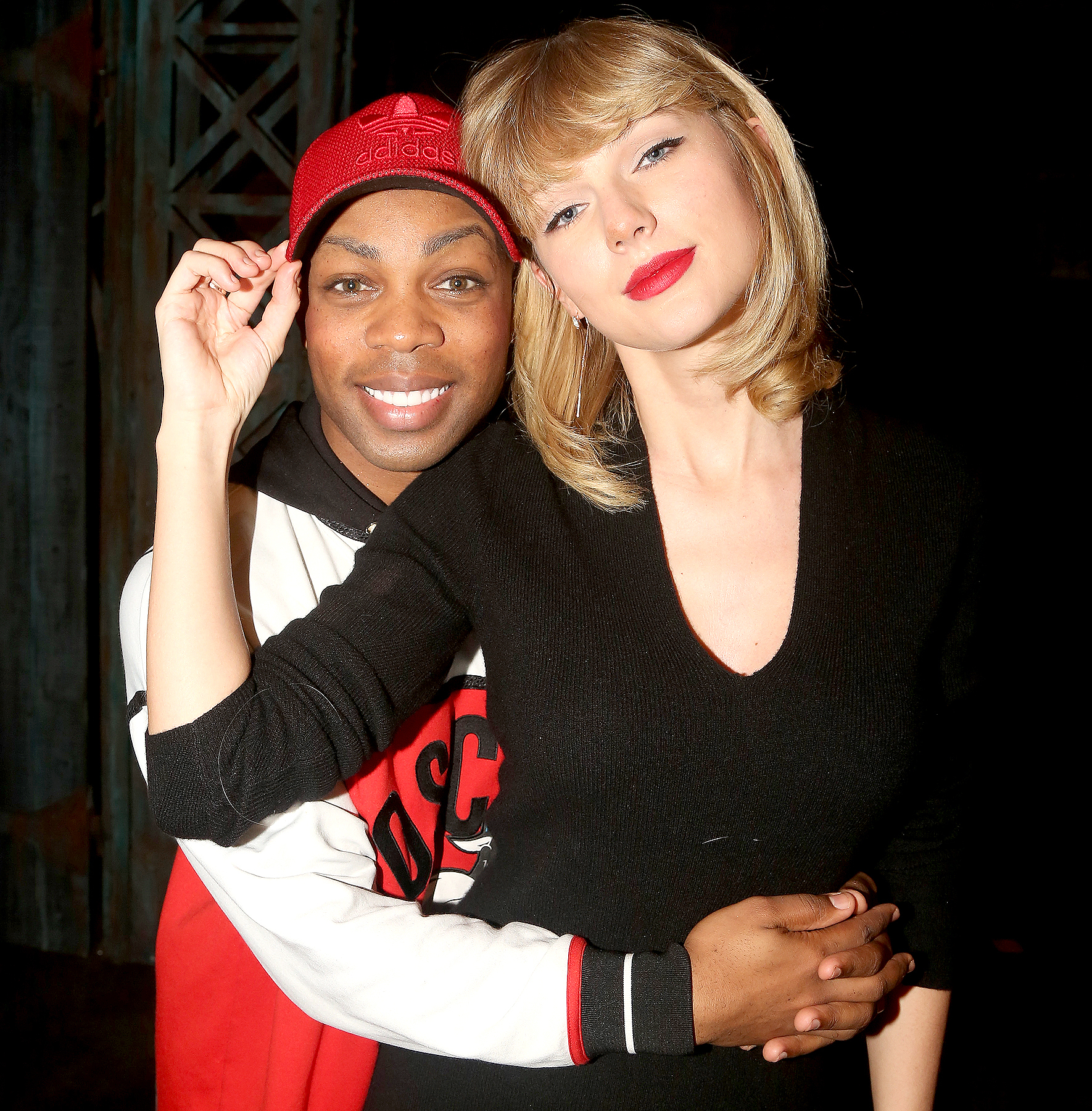 Todrick Hall and Taylor Swift pose backstage at the hit musical