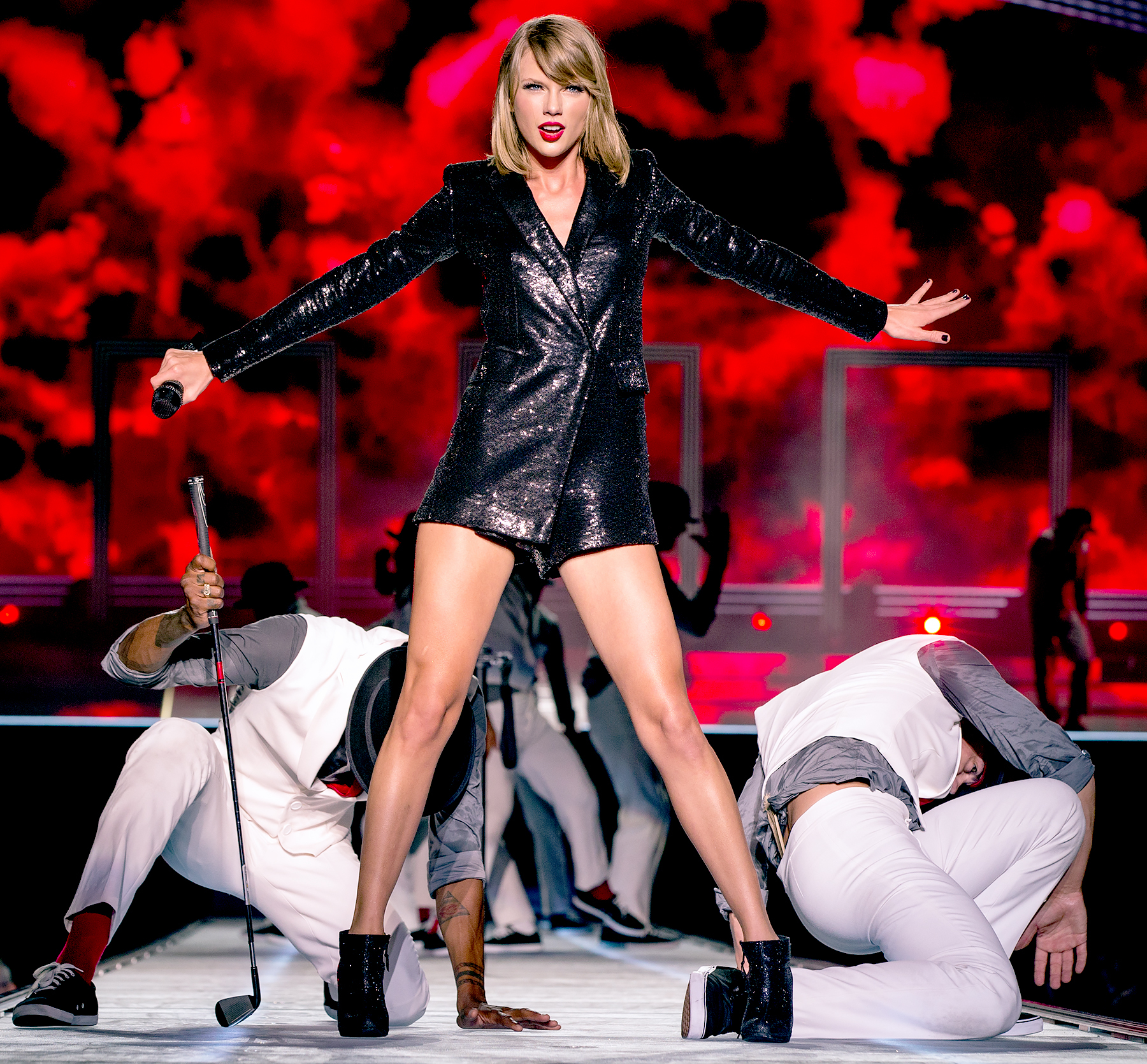Taylor Swift performs on stage during