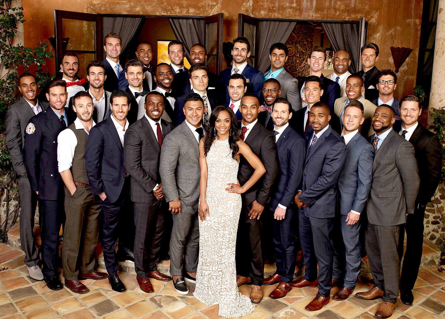Rachel Lindsay and her suitors on The Bachelorette.