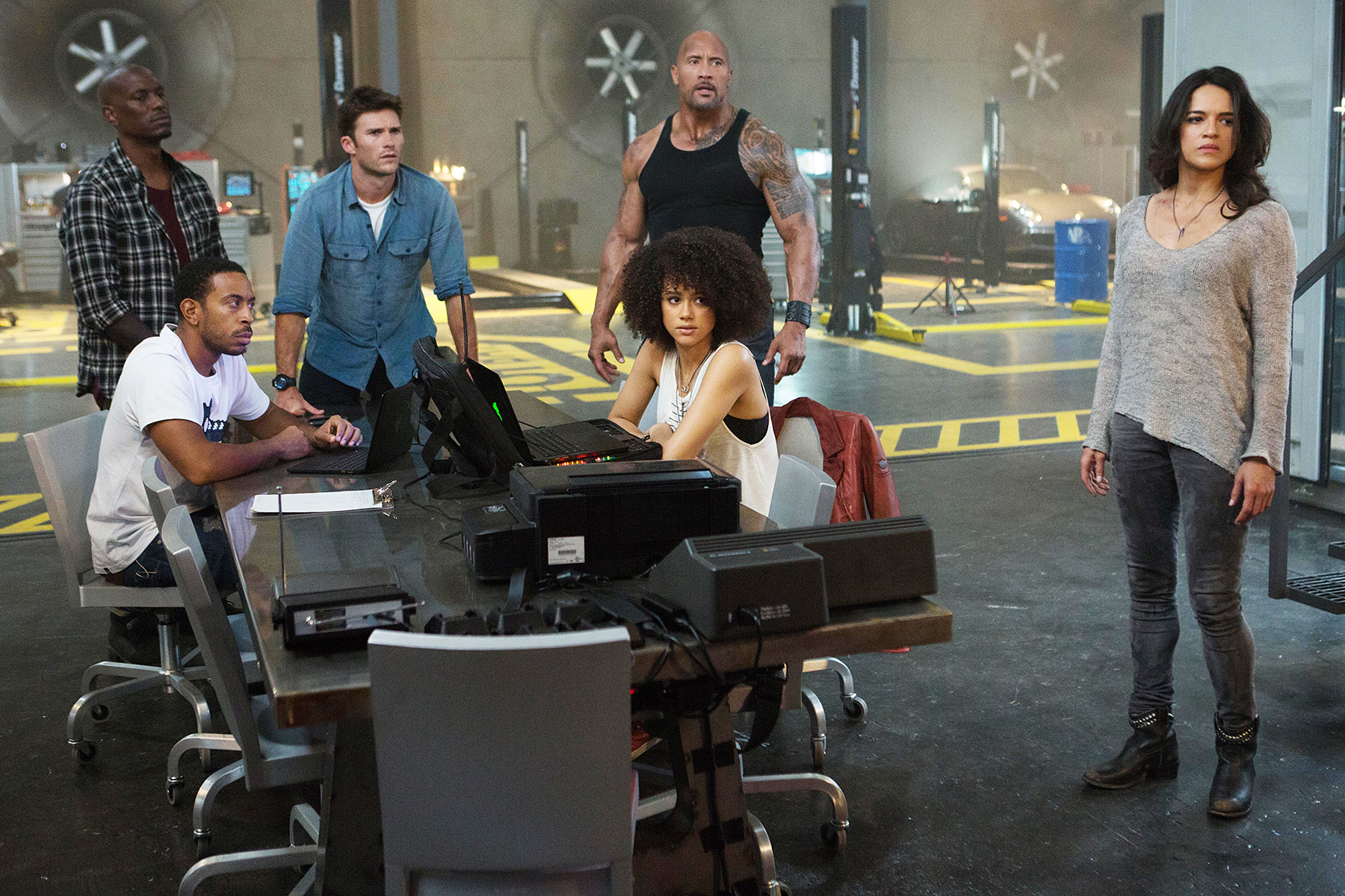 "TYRESE GIBSON, CHRIS ""LUDACRIS"" BRIDGES, SCOTT EASTWOOD, DWAYNE JOHNSON, NATHALIE EMMANUEL and MICHELLE RODRIGUEZ The Fate of The Furious"